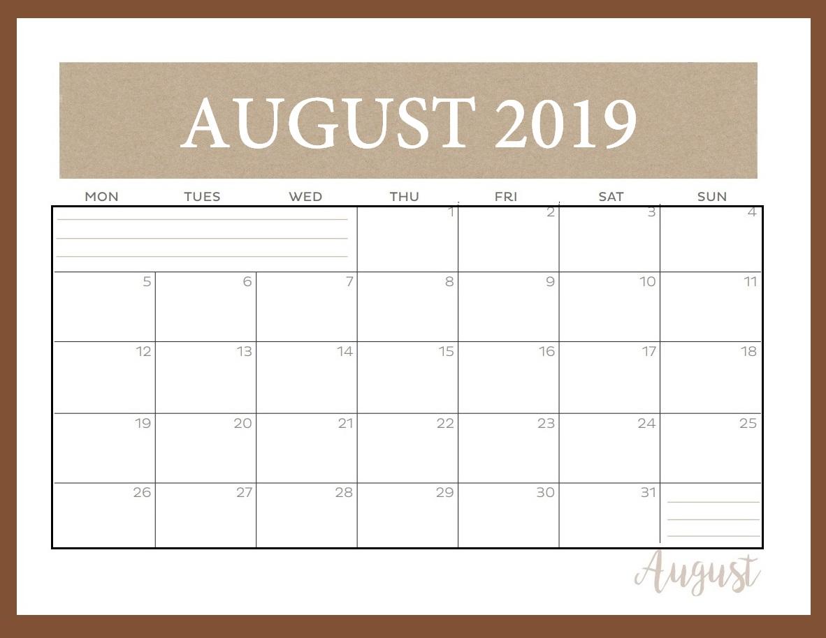 Editable August 2019 Calendar Template - Pdf, Word, Excel