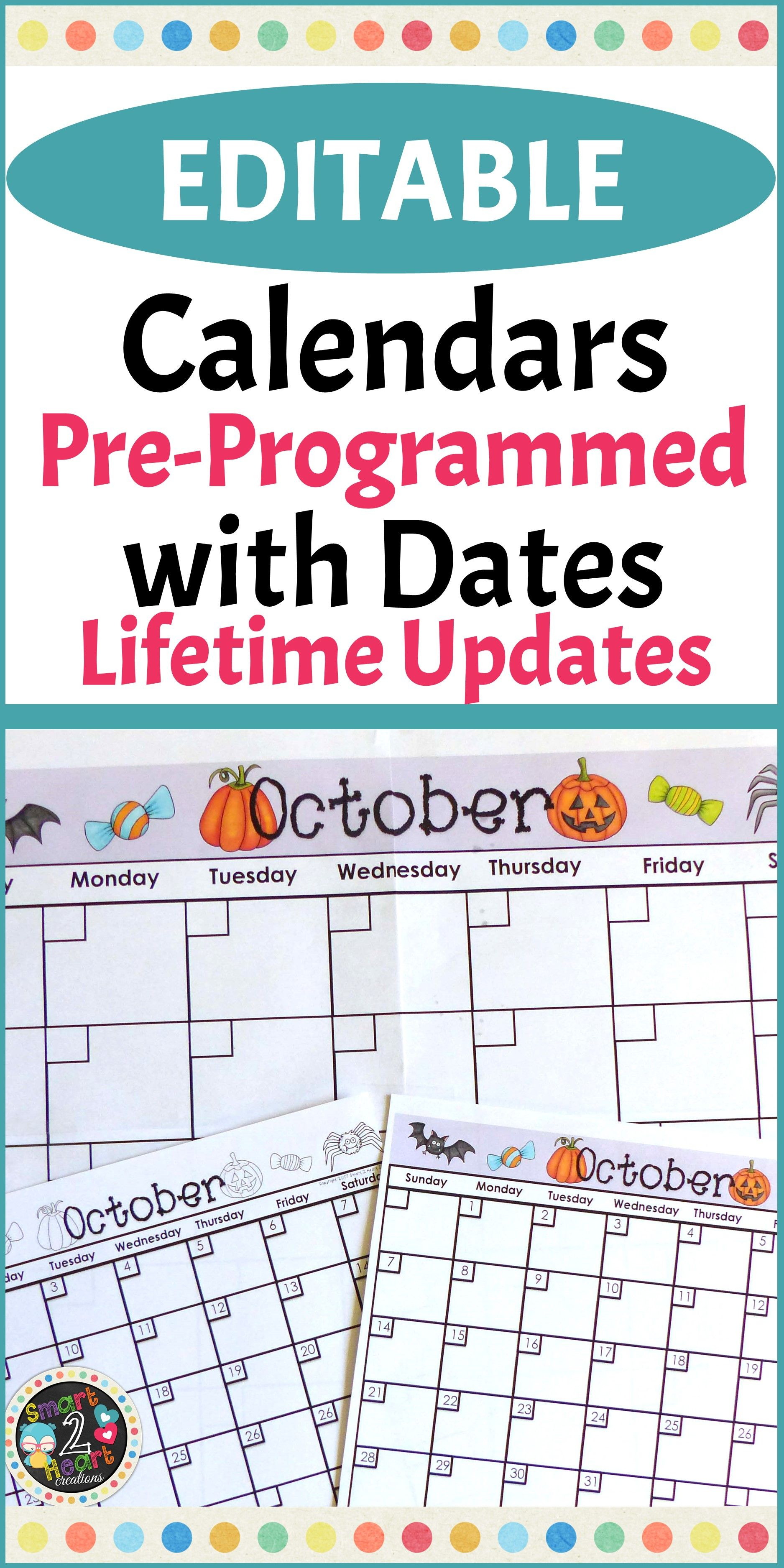Editable Calendars 2019-2020 (Lifetime Updates) | Classroom