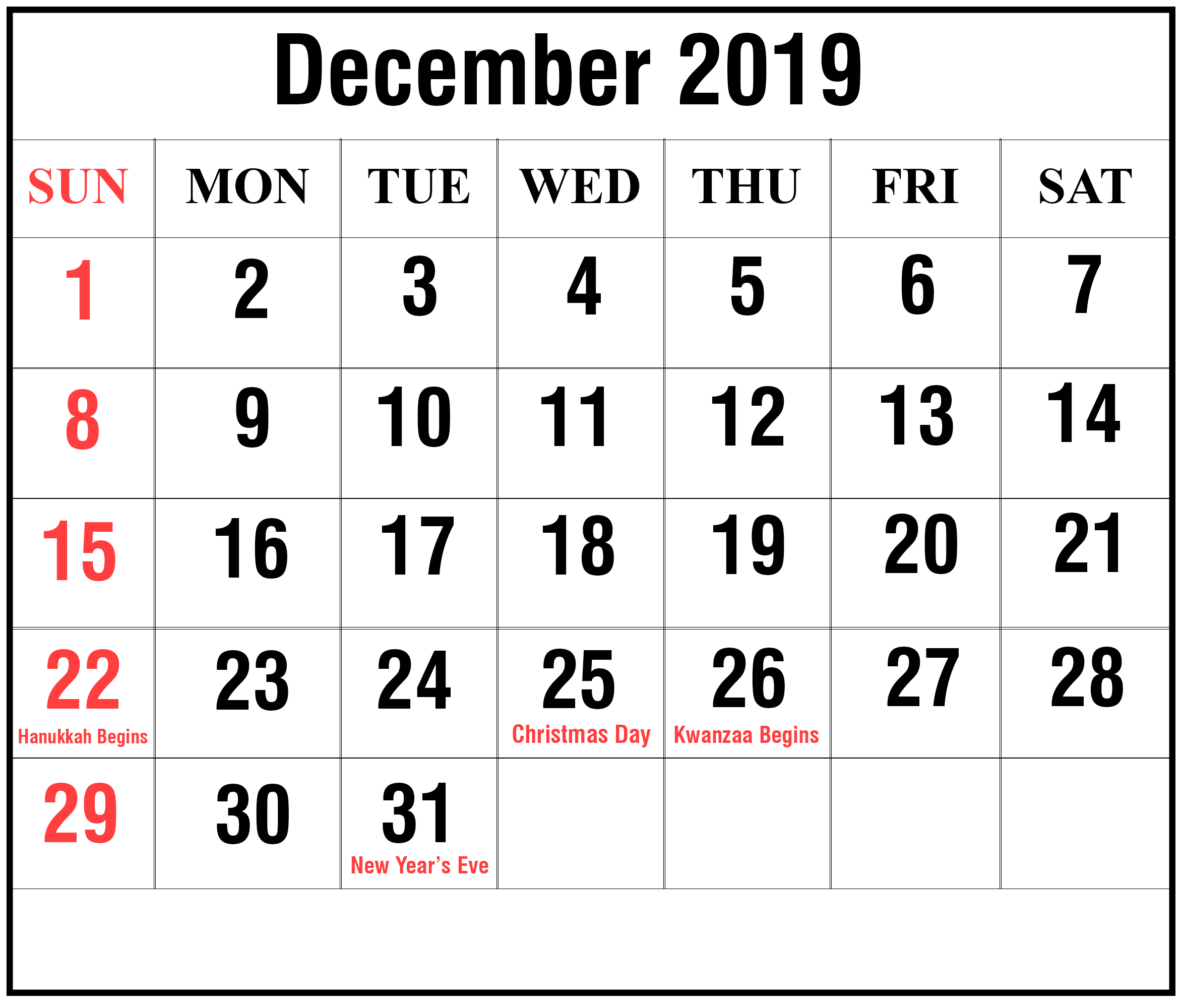 Editable December 2019 Calendar Blank Template | Printable