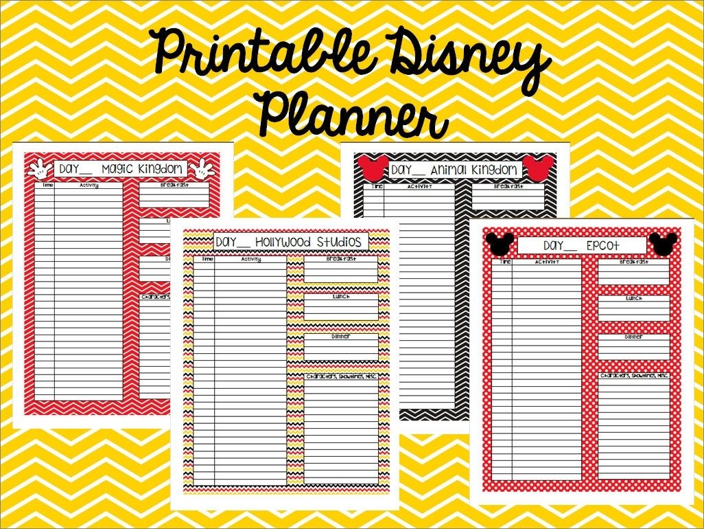 Editable Disney Template Itinerary | Calendar Template Printable