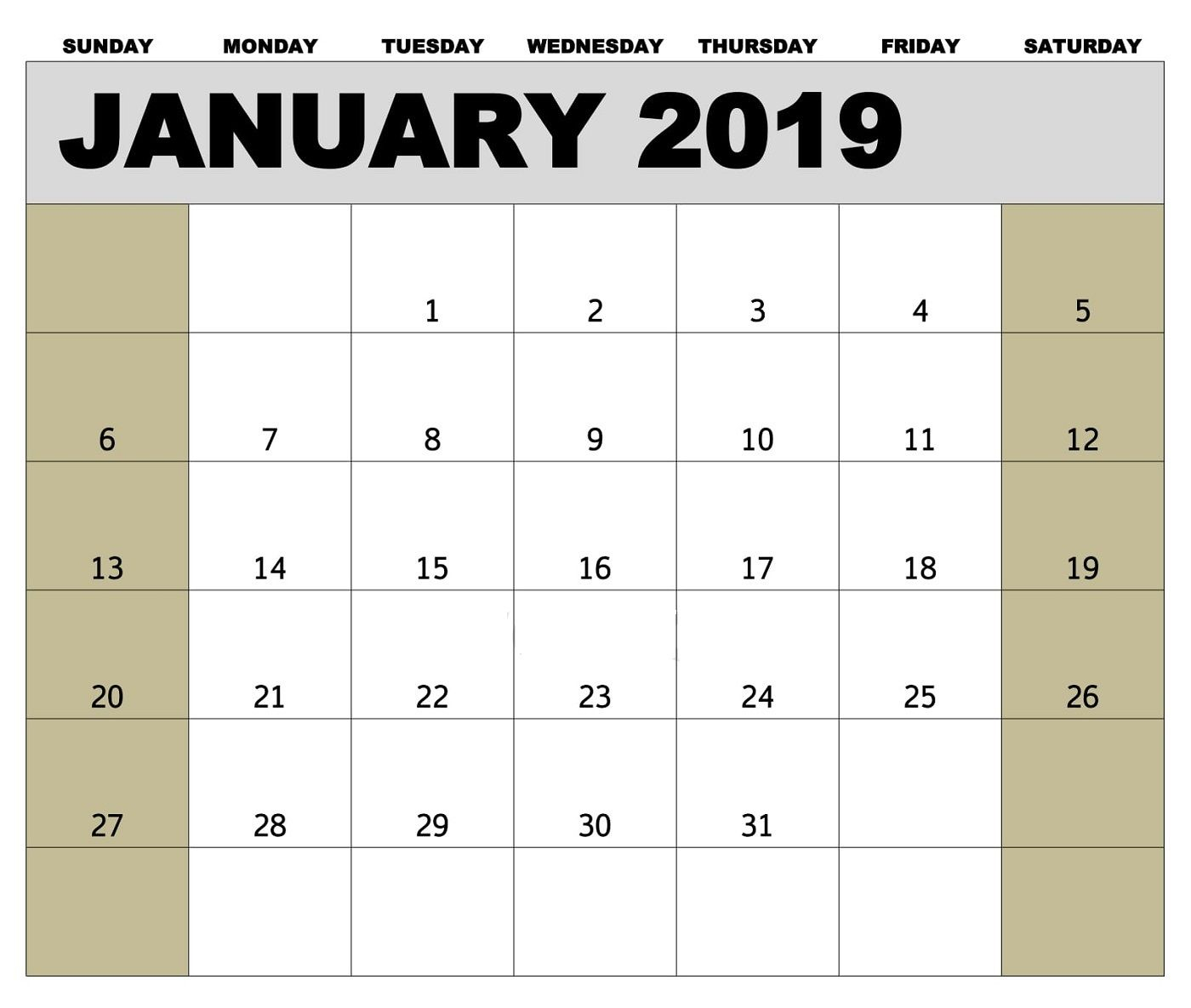 Editable January 2019 Calendar Template #januarycalendar