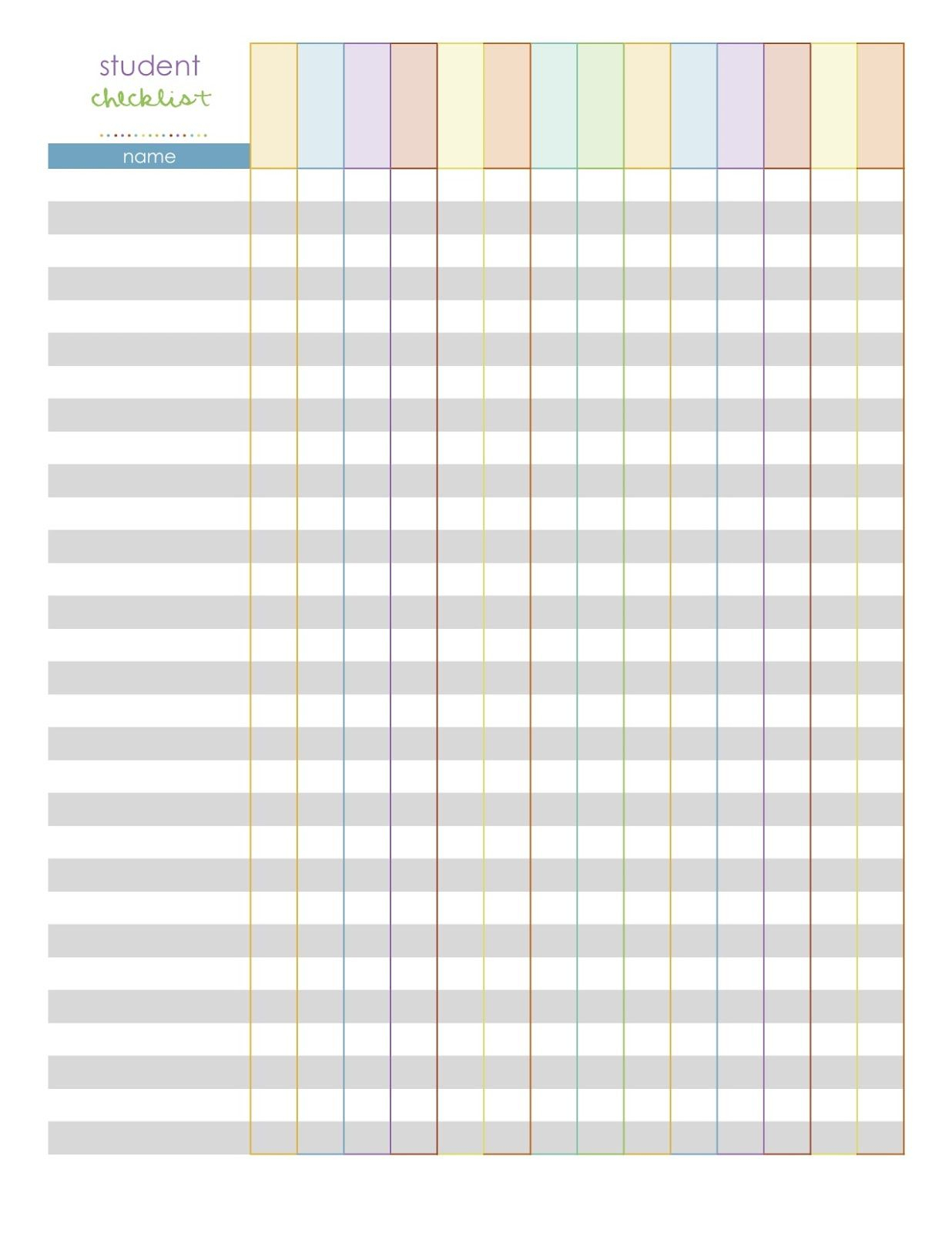 Elementary Class List Template | Monthly Planning Pages- A