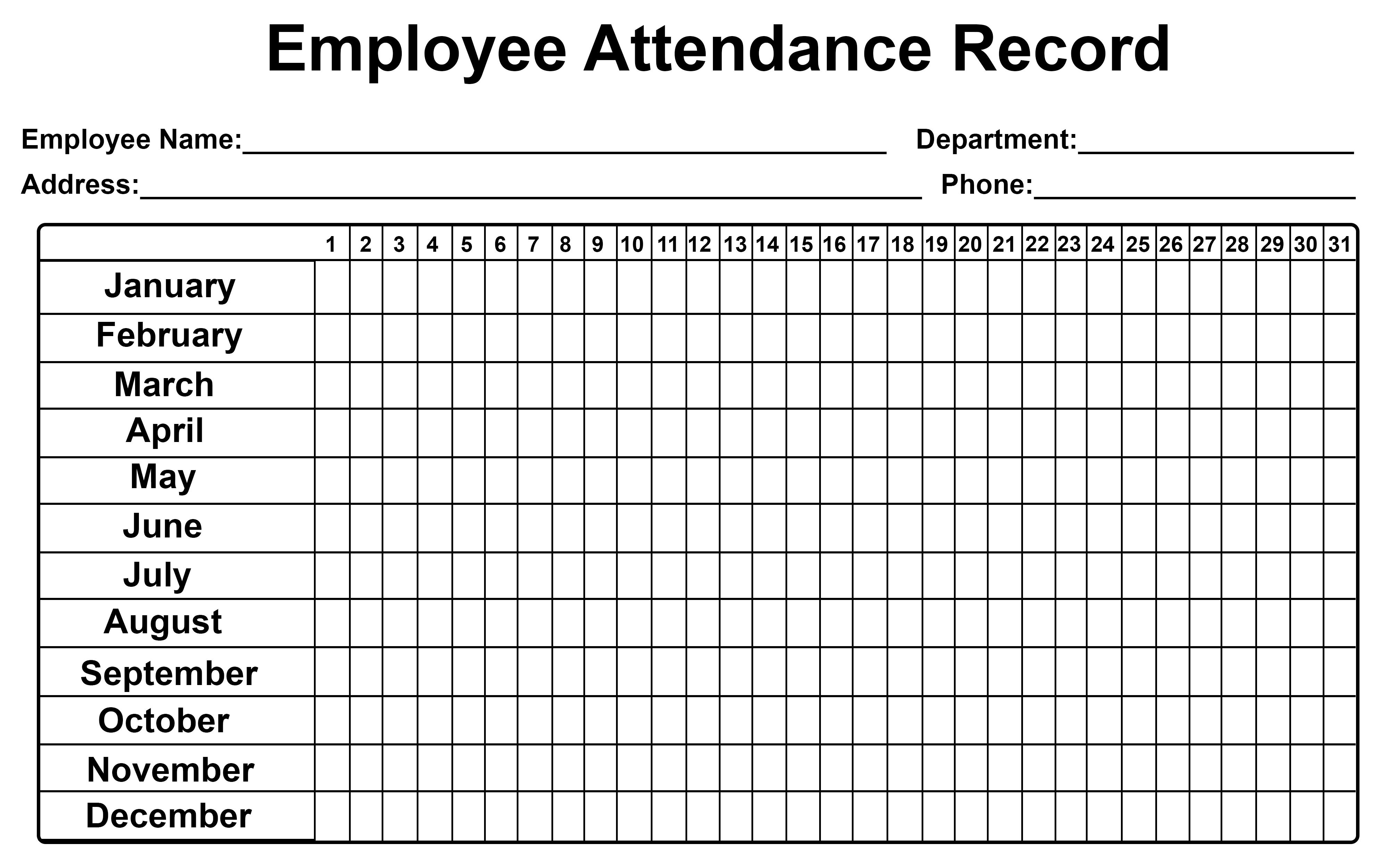Employee Attendance Tracker Sheet 2019   Printable Calendar