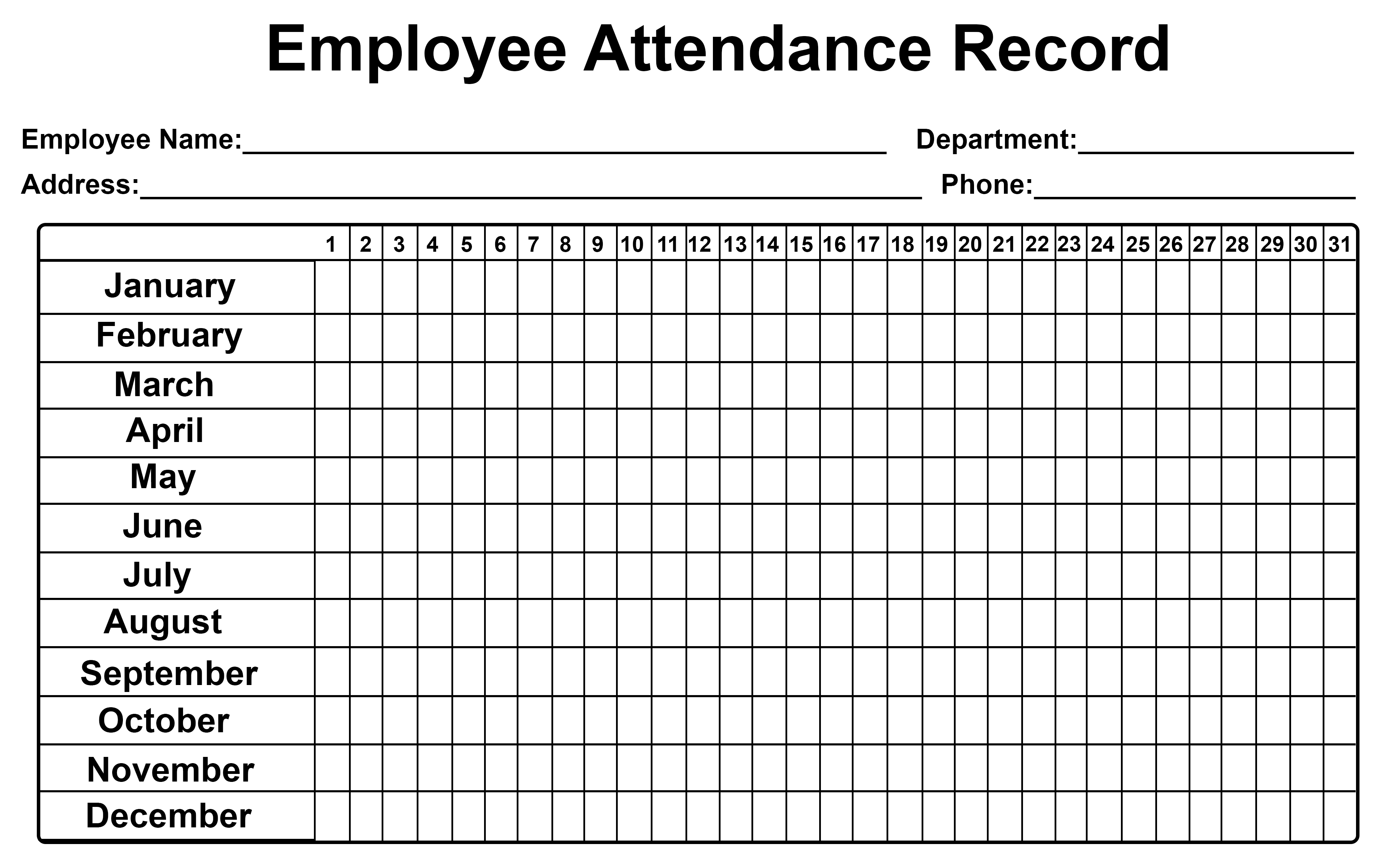 Employee Attendance Tracker Sheet 2019 | Printable Calendar