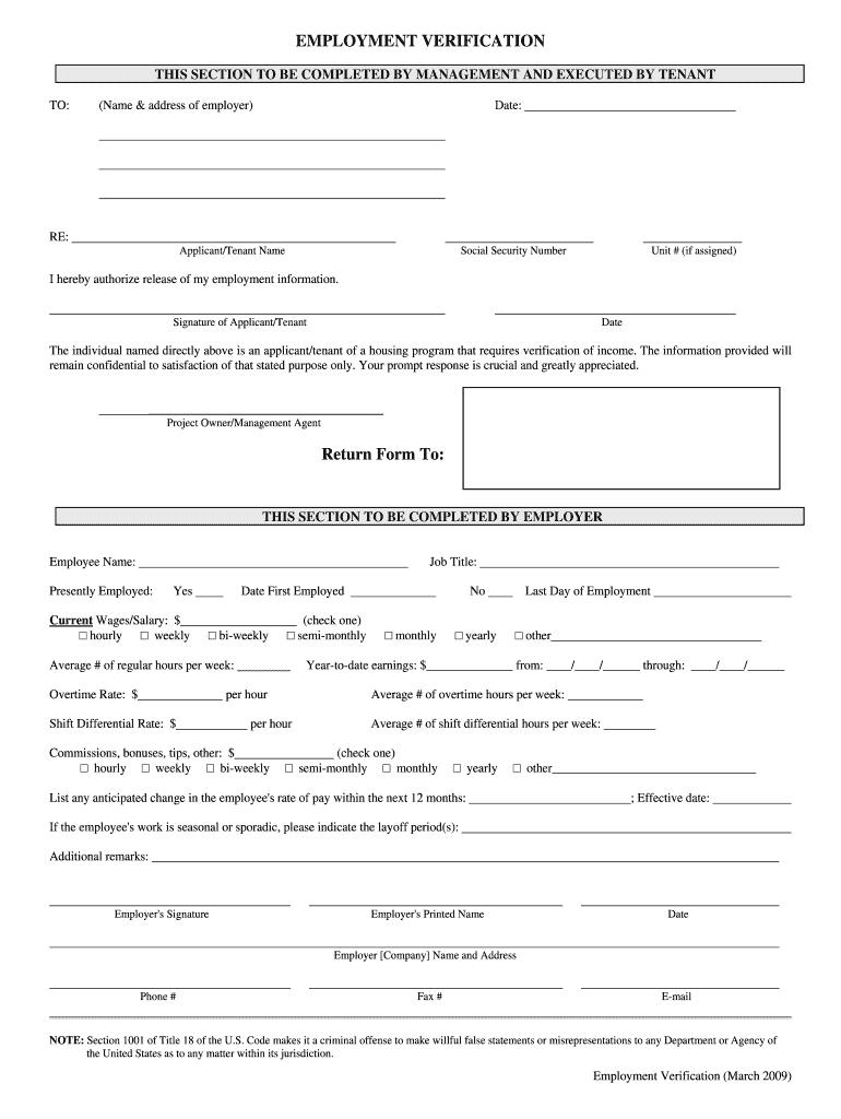 Employment Verification Form - Fill Online, Printable