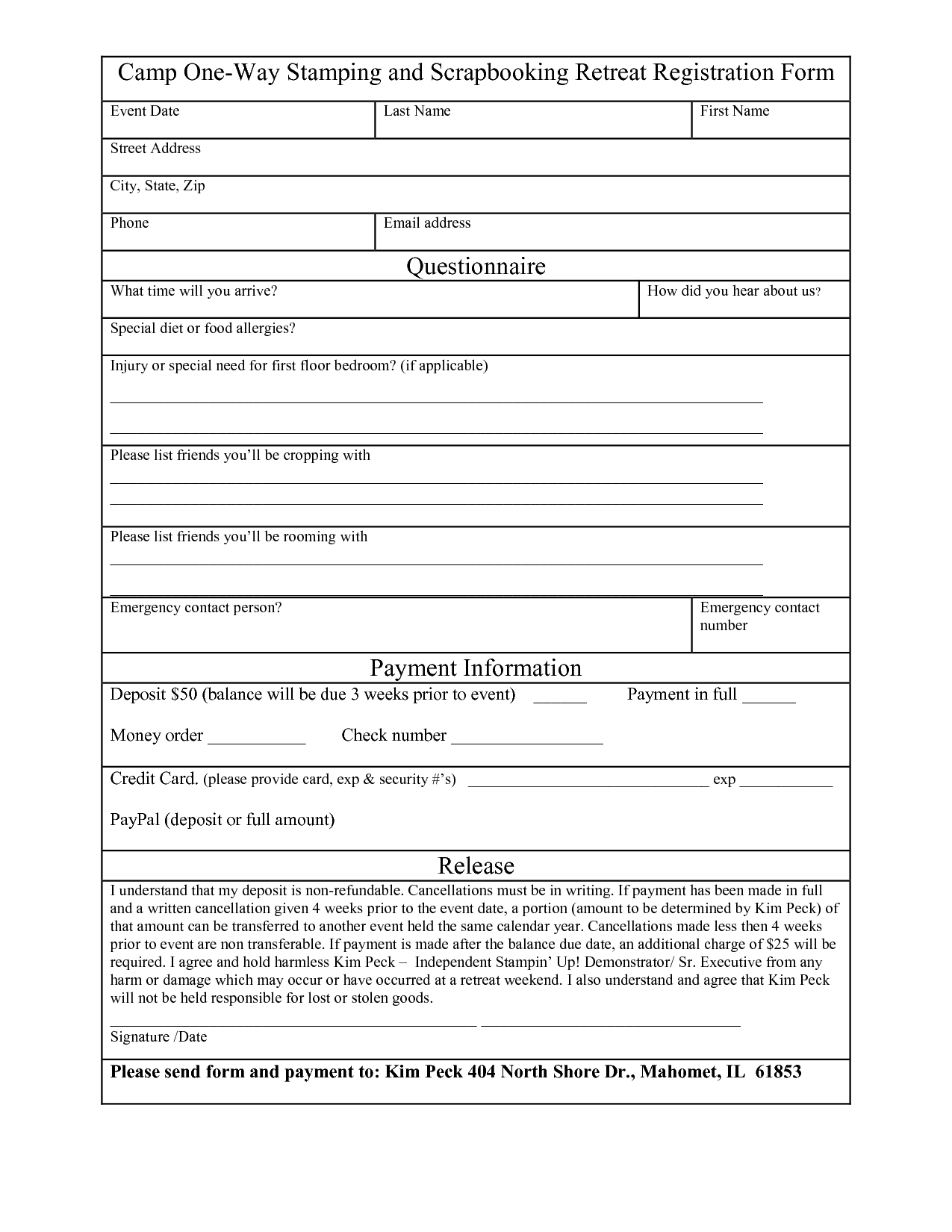 Event Registration Form Late Word WordPress Printable Free