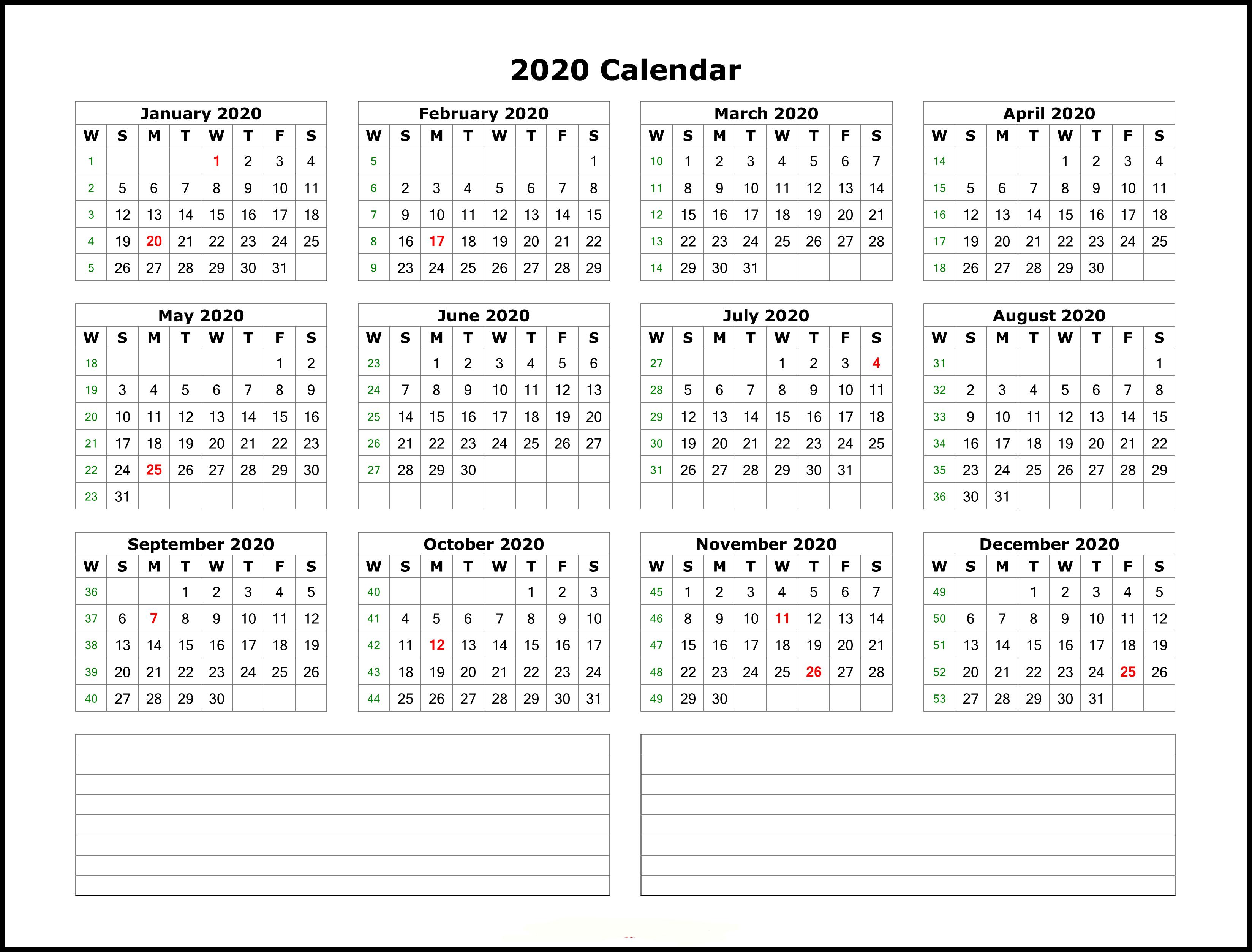 Excel Template 2020 Calendar - Colona.rsd7