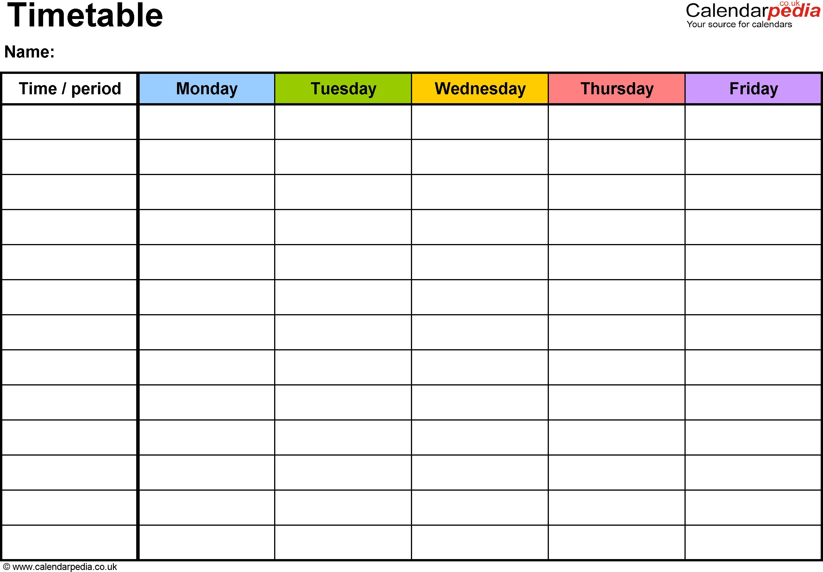 Excel Timetable Template 2: Landscape Format, A4, 1 Page