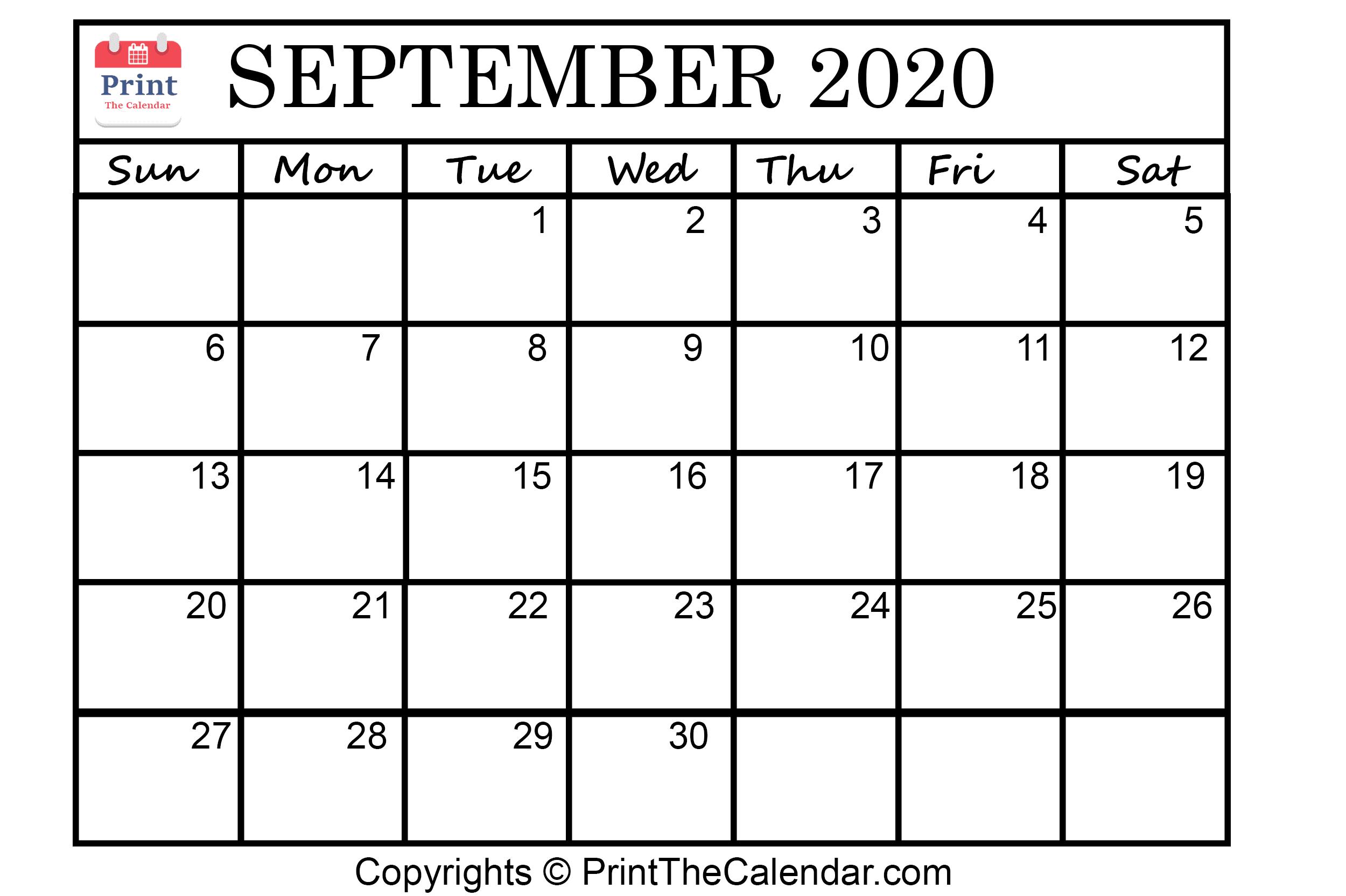 😃[Free}*^ September 2020 Printable Calendar For Word, Excel