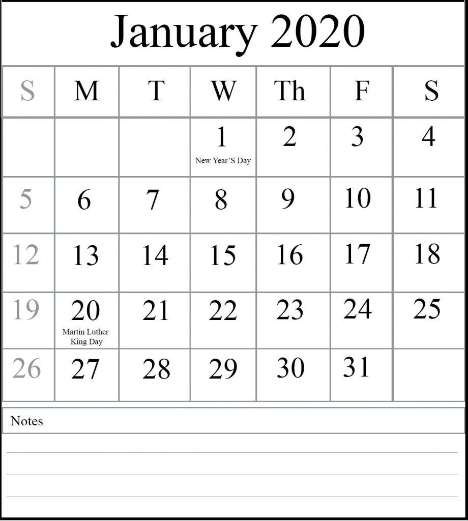 😄free January 2020 Printable Calendar With Holidays [Pdf