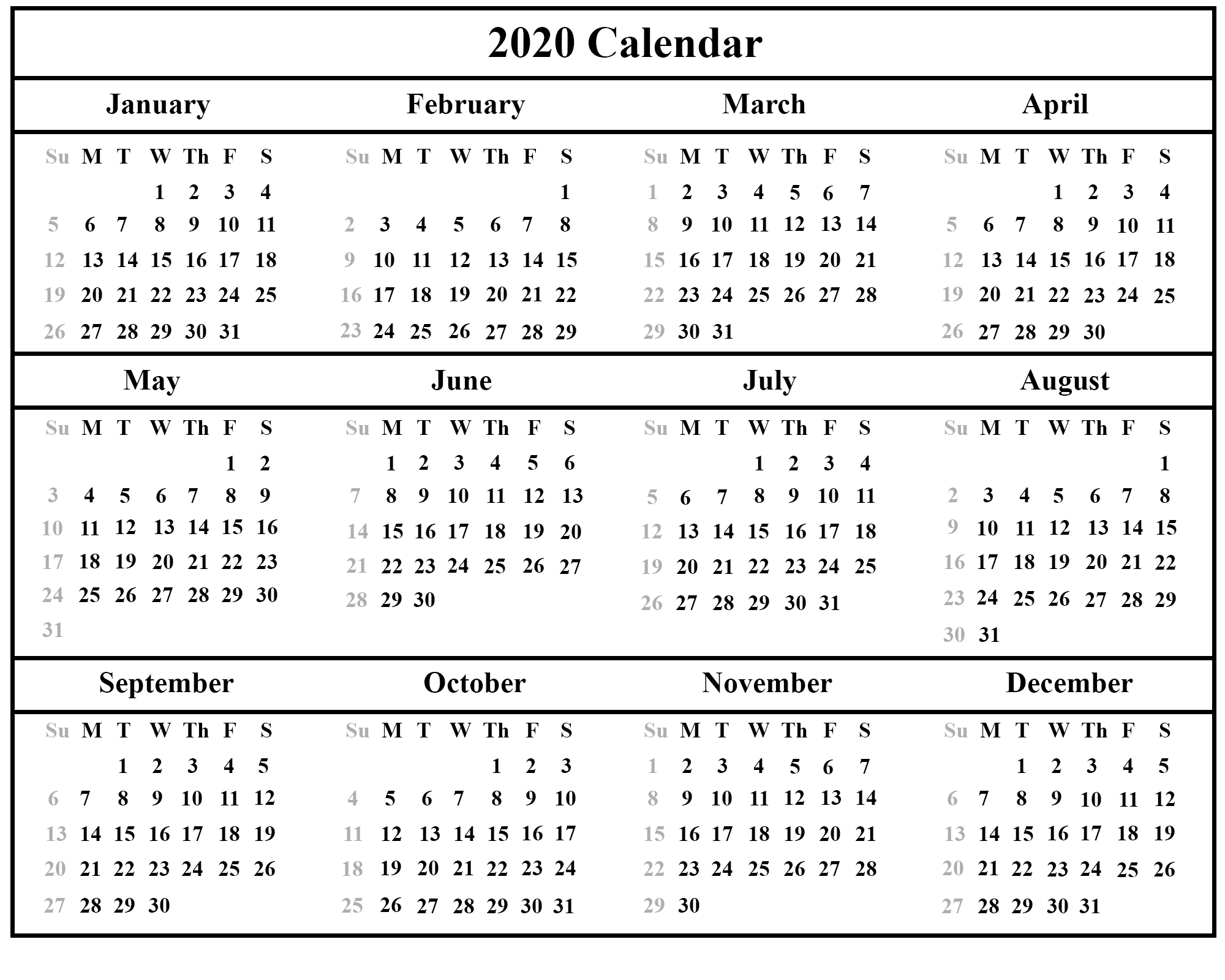 😄printable Yearly Calendar 2020 Template With Holidays [Pdf