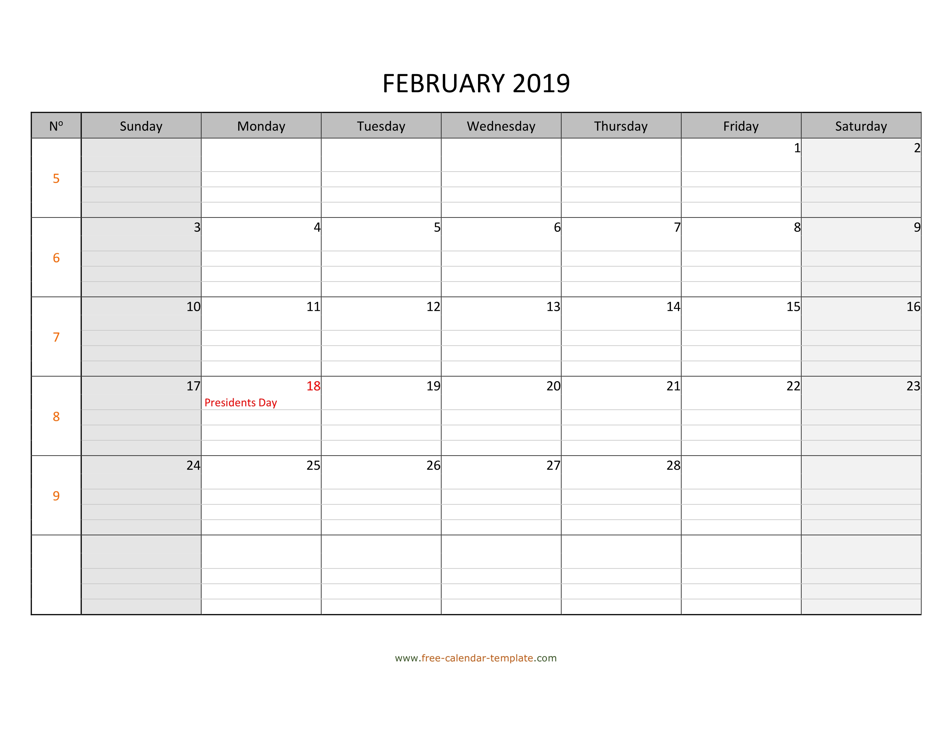 February 2019 Calendar Free Printable With Grid Lines