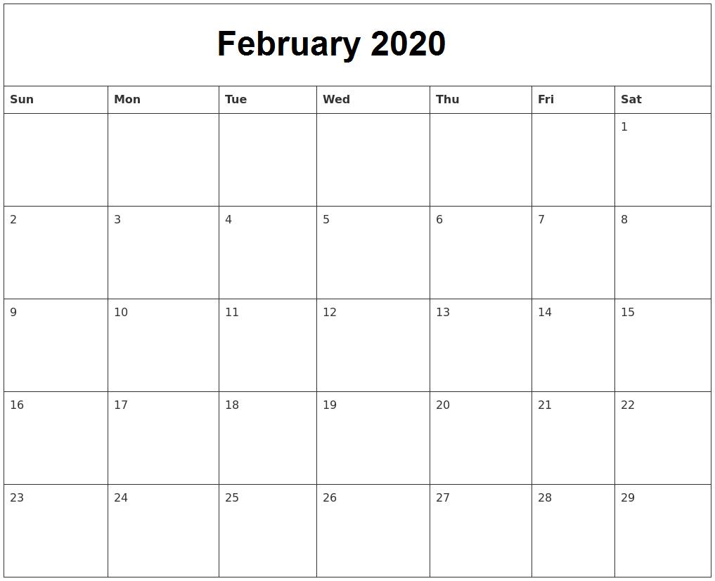 February 2020 Calendar Archives - Calendar School