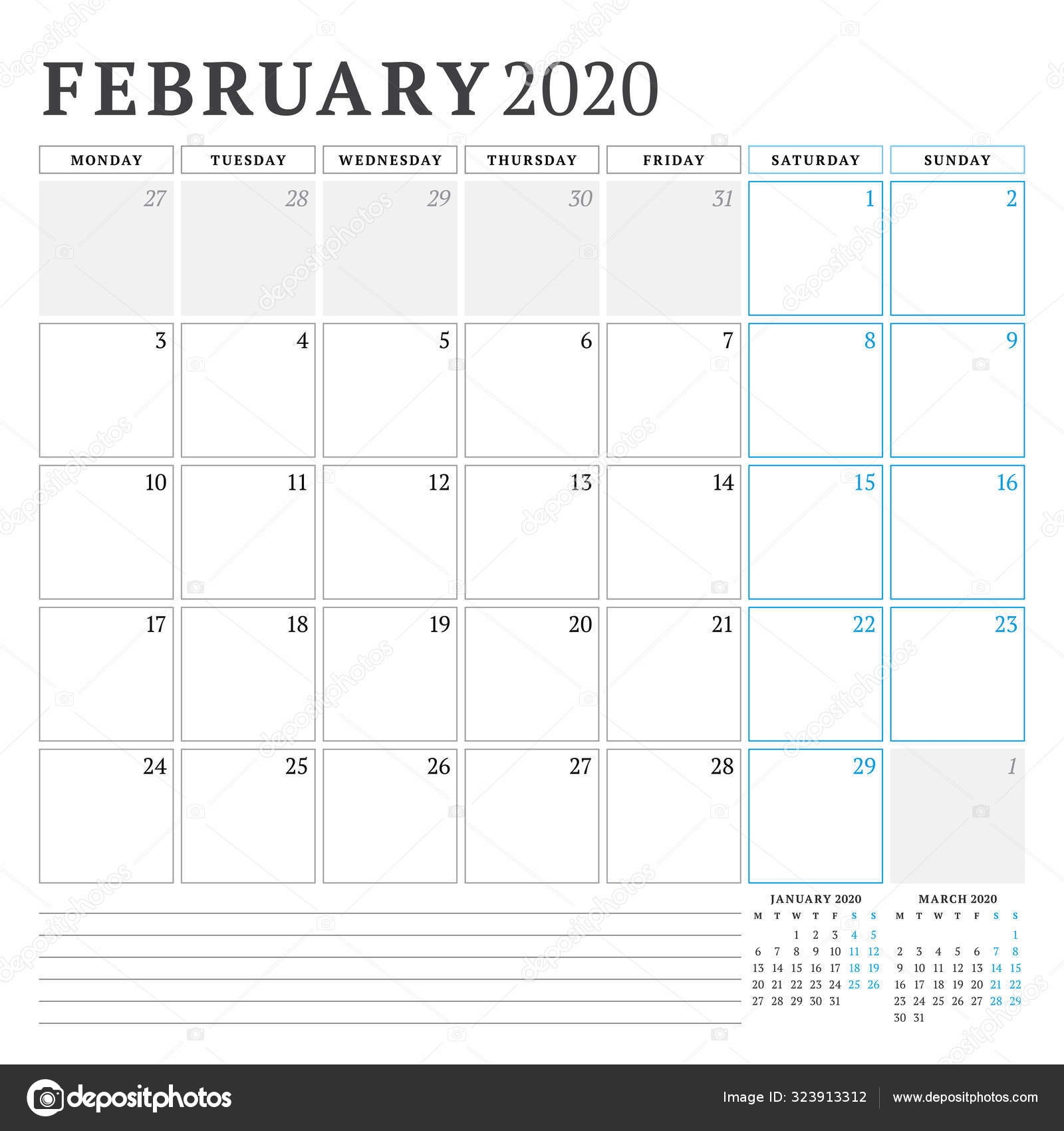 February 2020. Calendar Planner Stationery Design Template