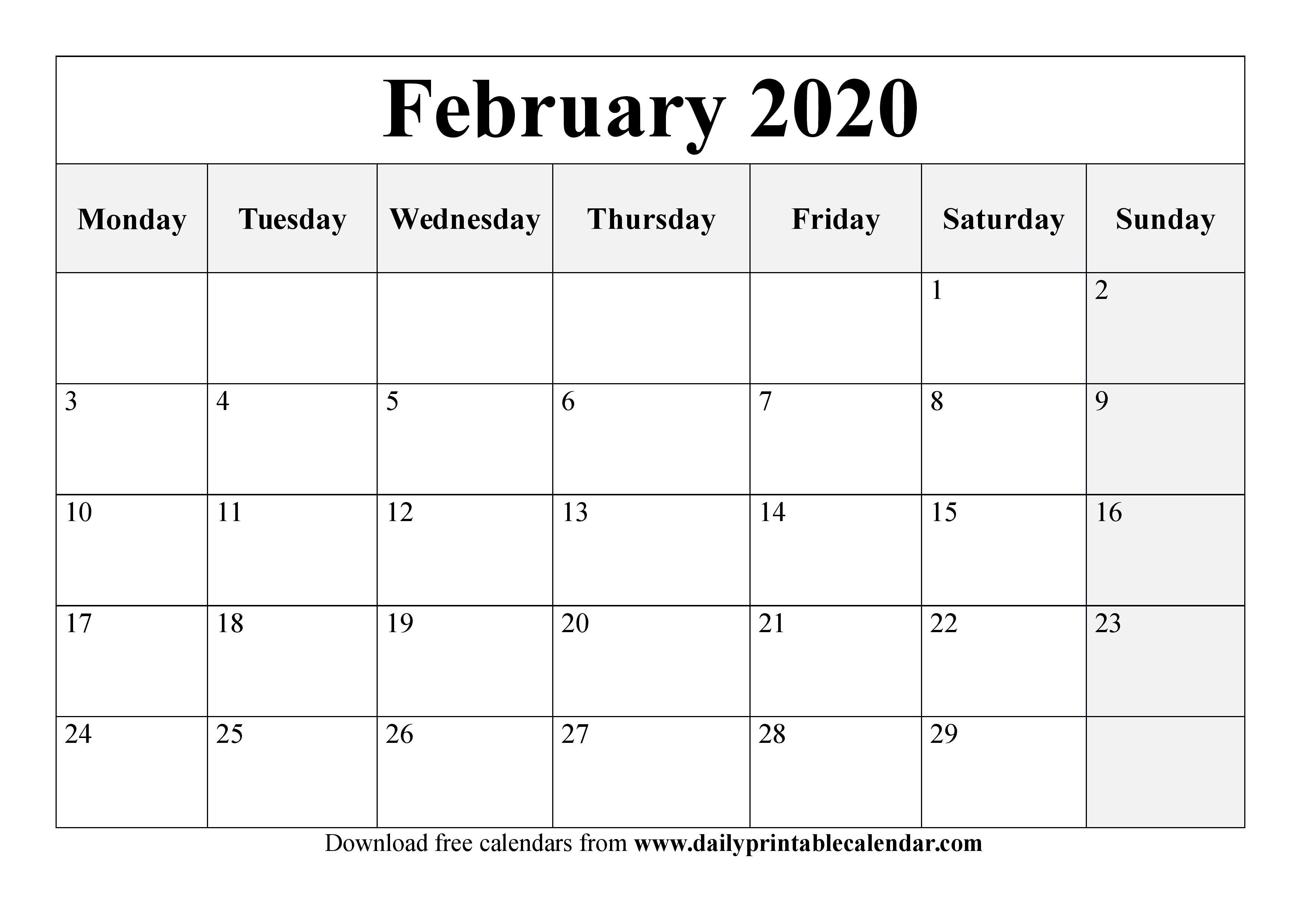 February 2020 Calendar Printable - Blank Templates - 2020