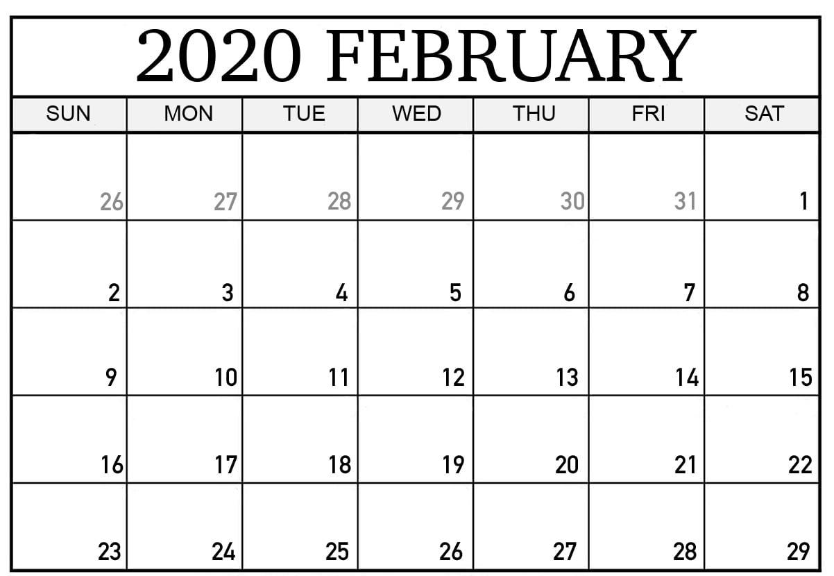 February 2020 Calendar Printable Template In Pdf, Word, Excel