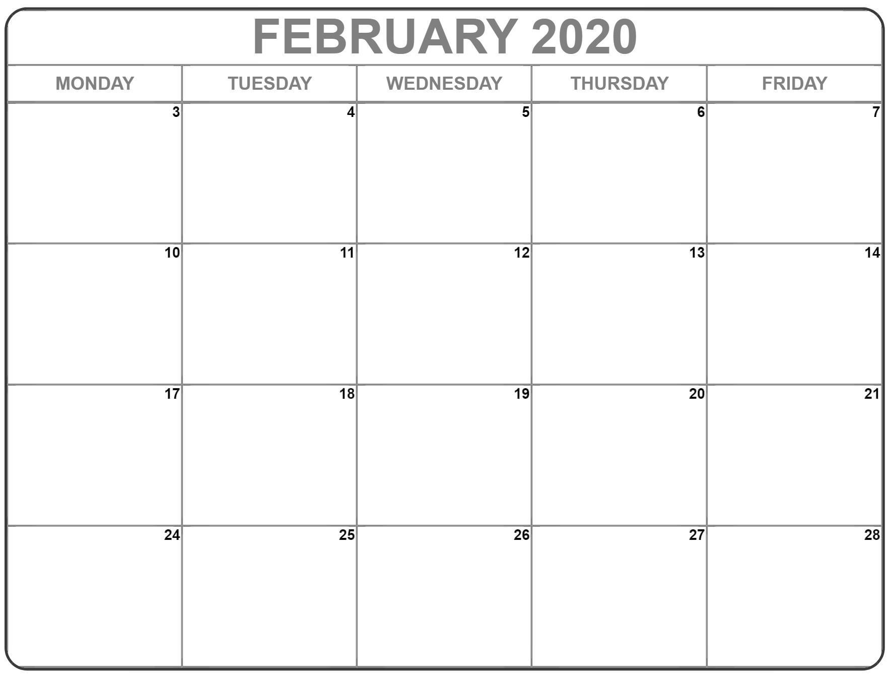 February 2020 Monday Calendar | Monday To Sunday