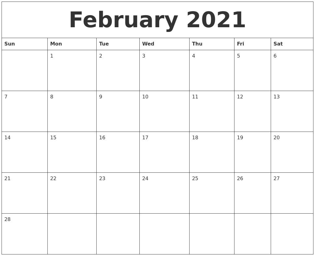 February 2021 Blank Calendar To Print