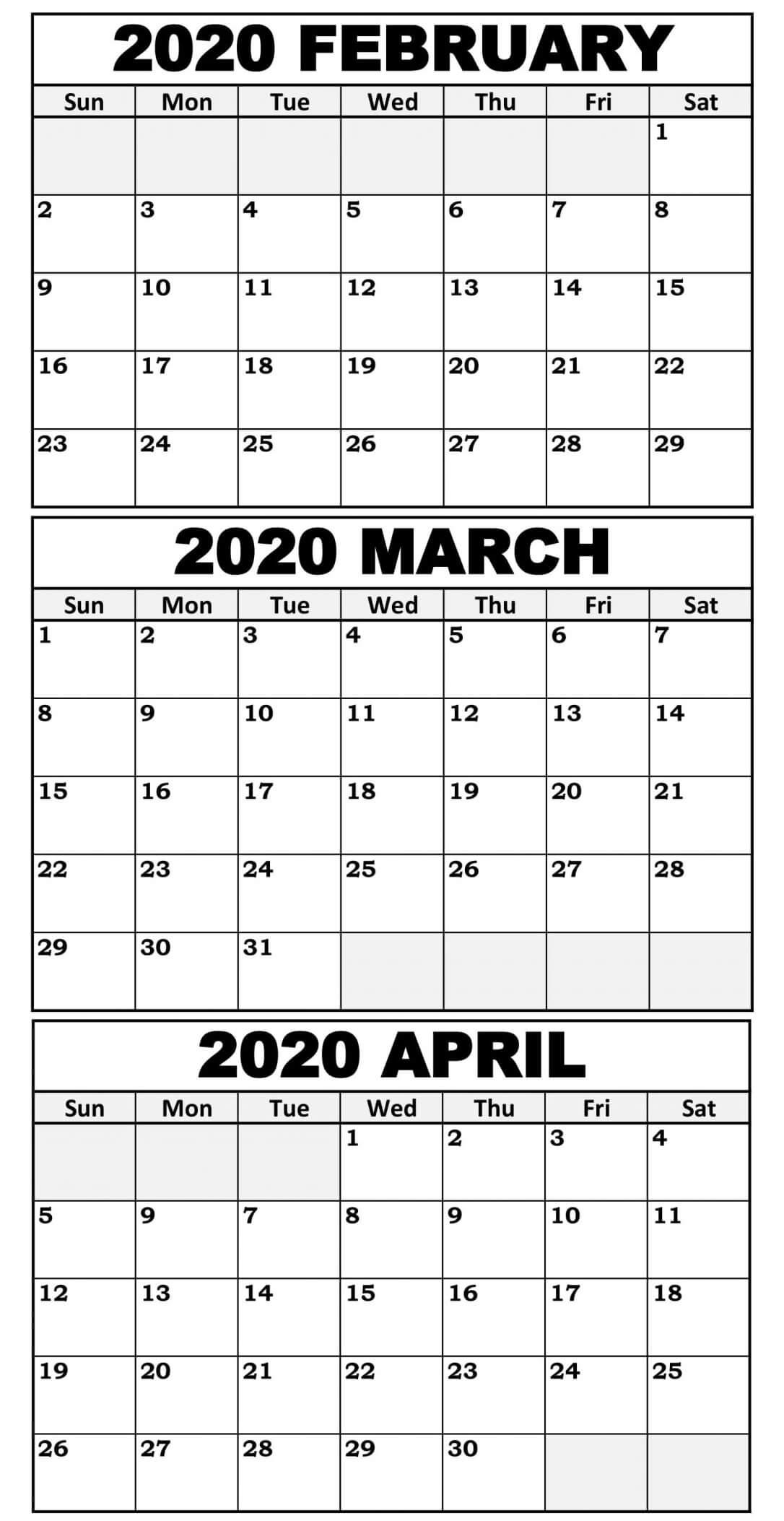 February To April 2020 Calendar With Holidays - 2019