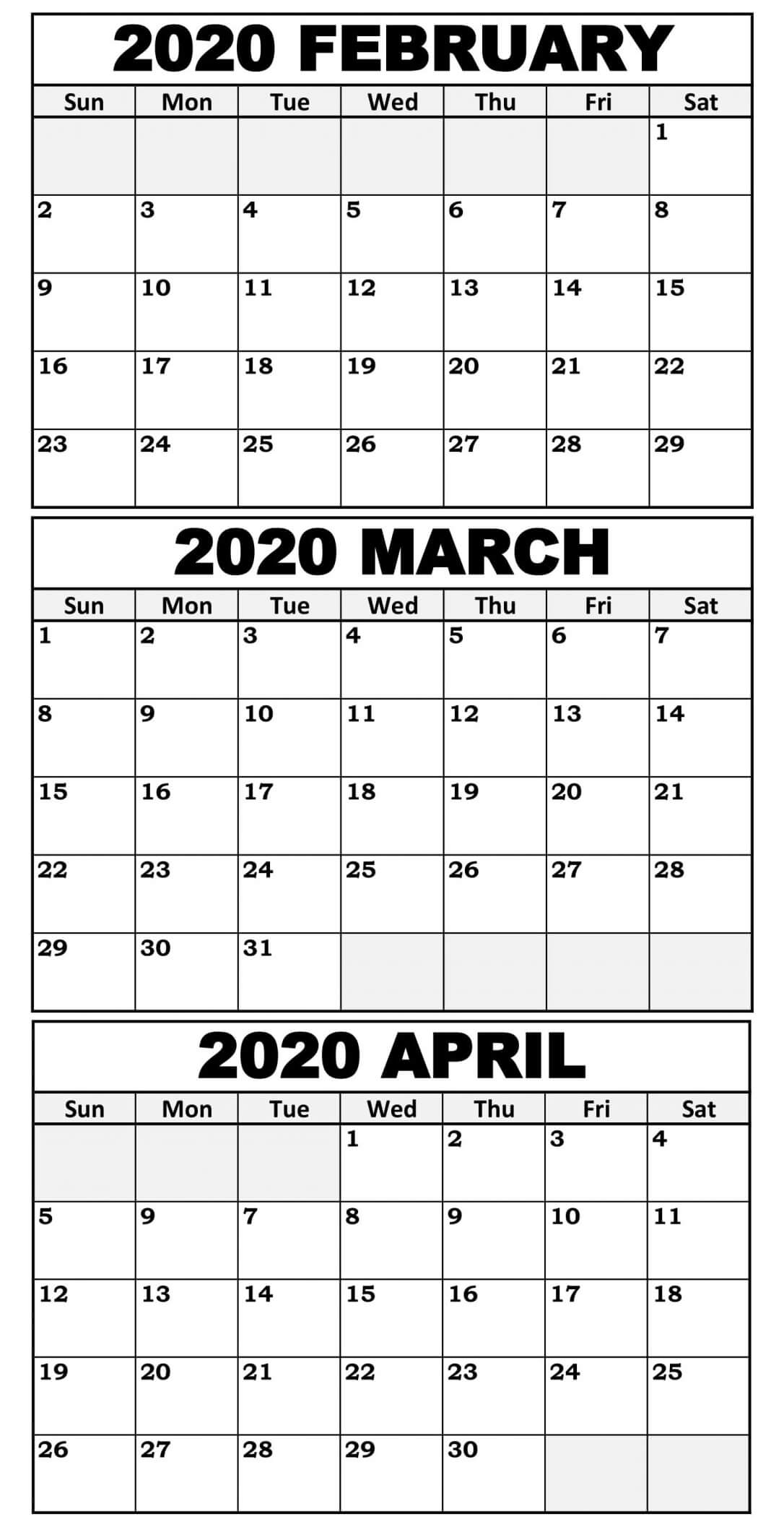 February To April 2020 Calendar With Holidays - 2019