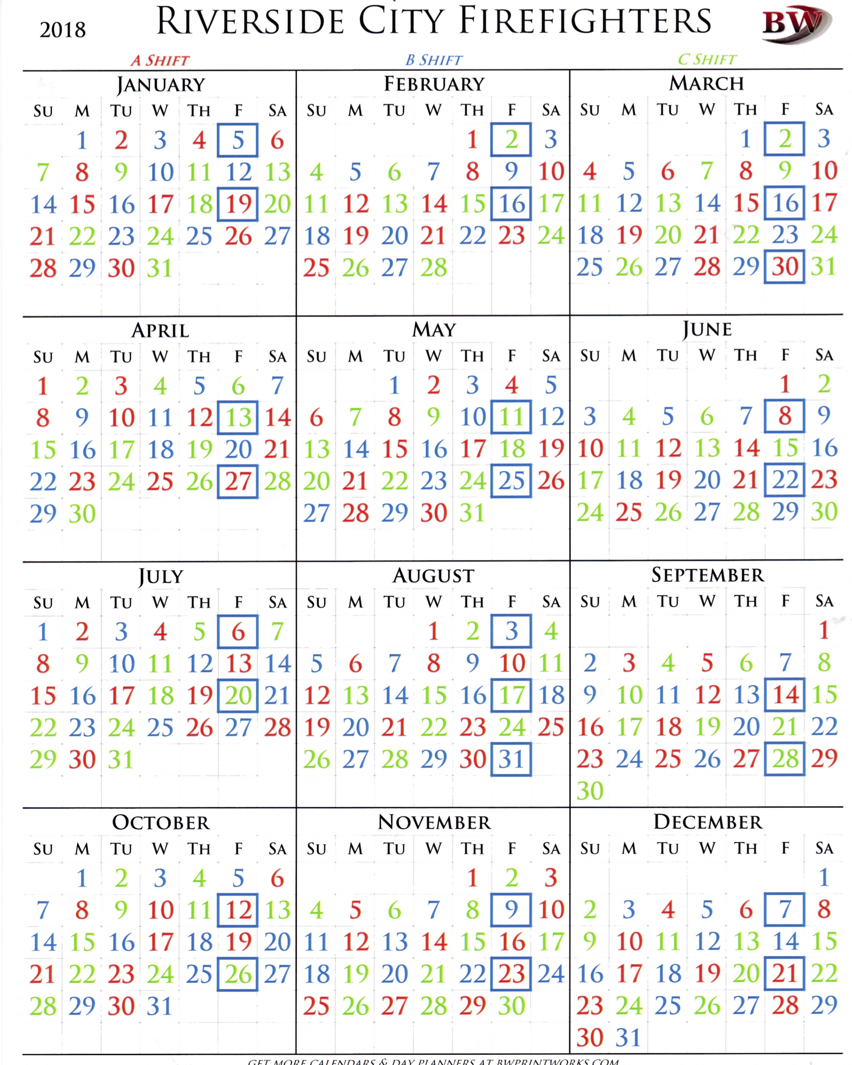 Fire Dept Shift Calendar - Colona.rsd7
