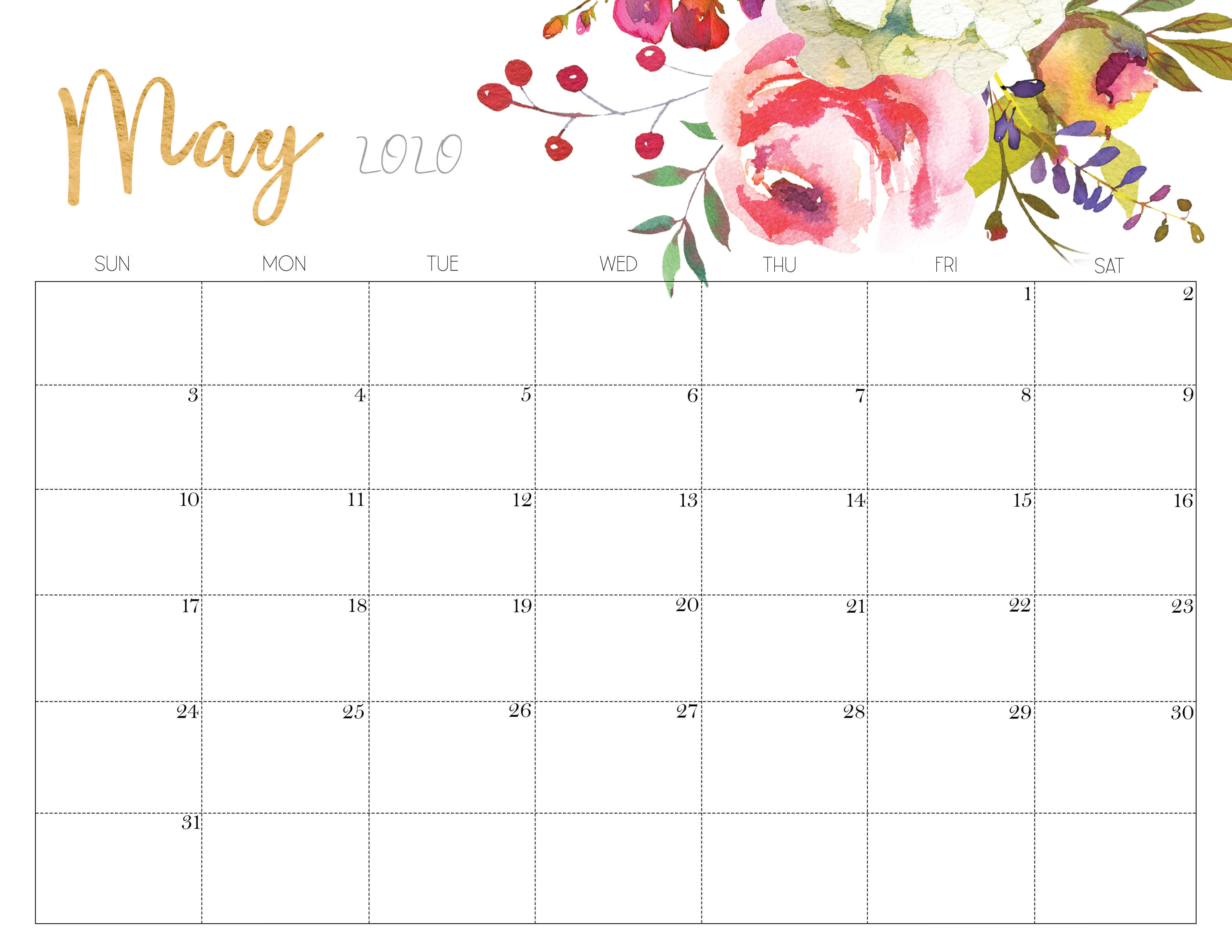Floral May 2020 Calendar Printable - Time Management Tools