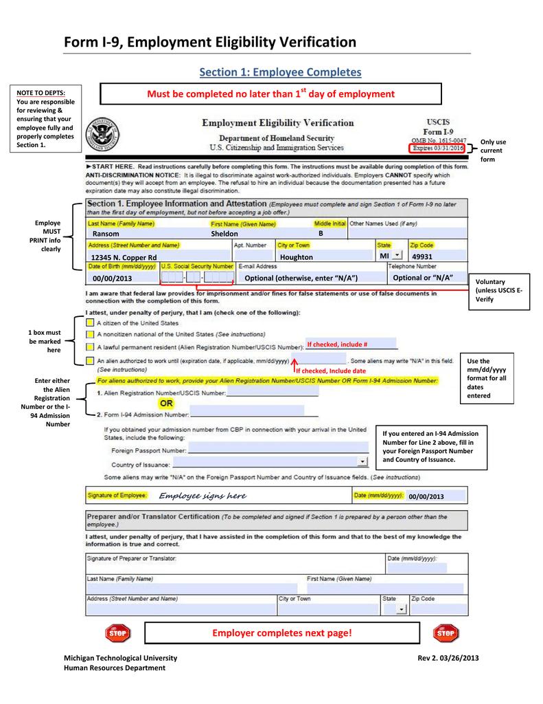 Form I-9, Employment Eligibility Verification Section 1