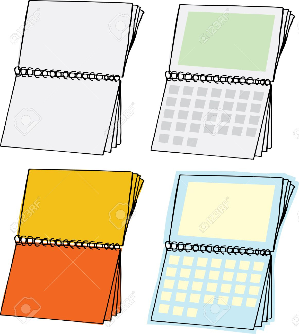 Four Types Of Blank Spiral Bound Calendars