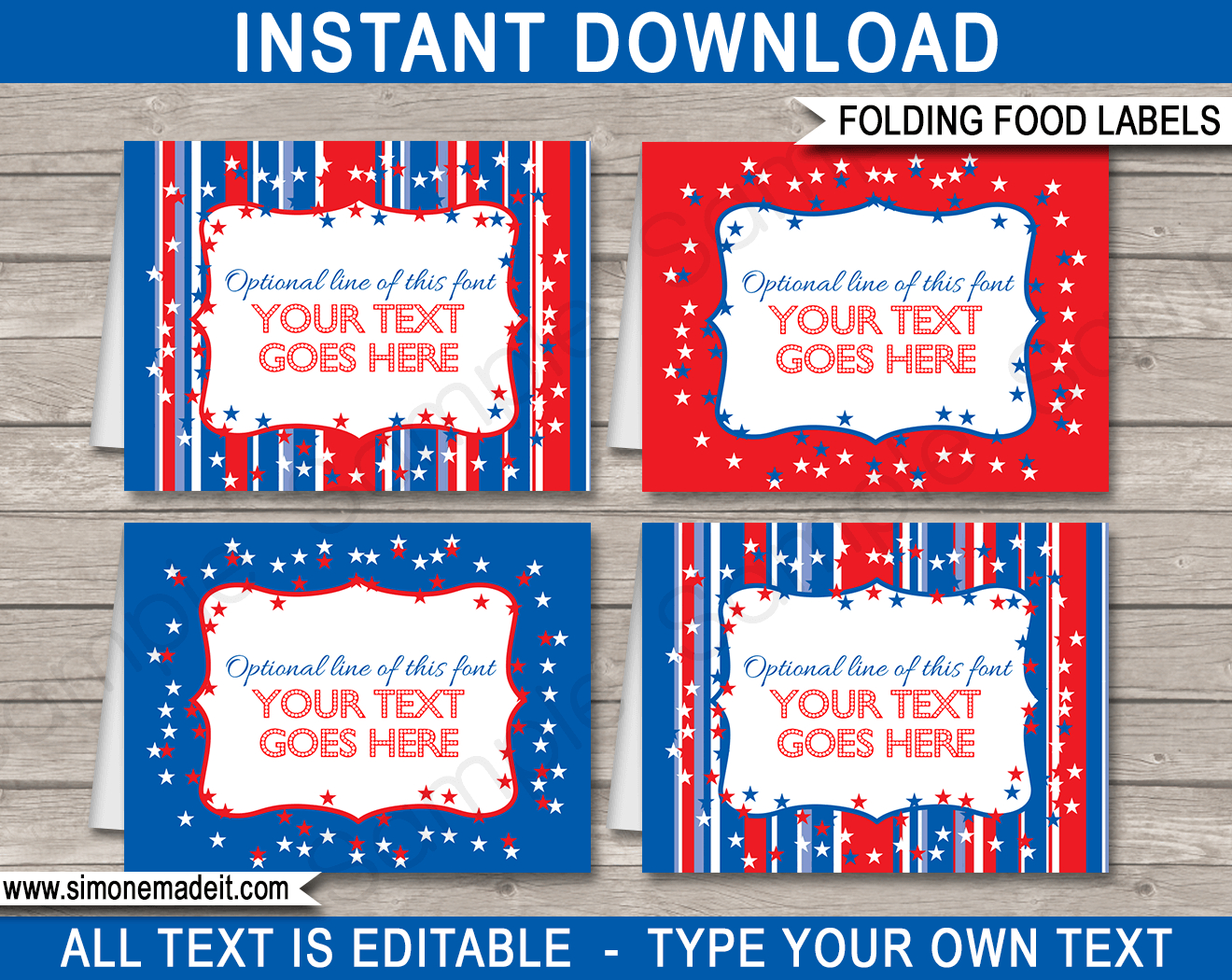 Fourth July Party Food Labels Template