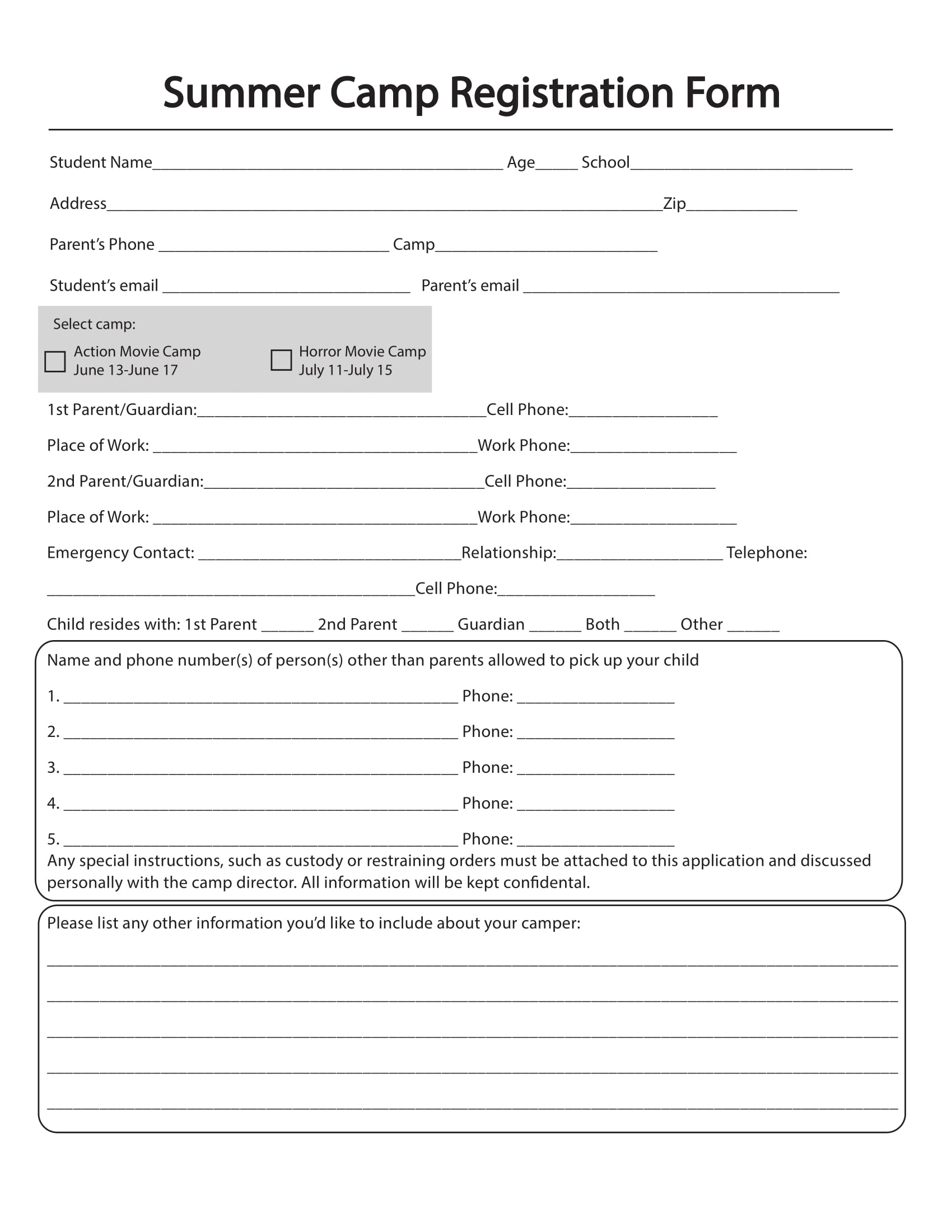 Free 10+ Printable Summer Camp Registration Forms In Pdf