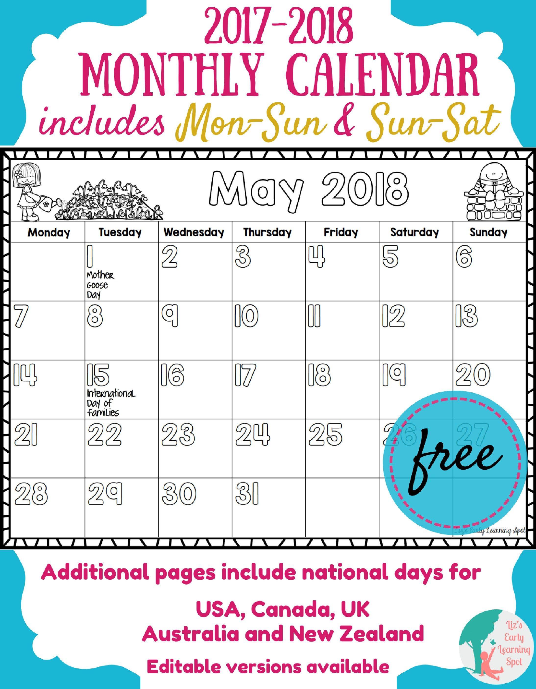 Free 2017-2018 Monthly Calendar For Kids | Kids Calendar