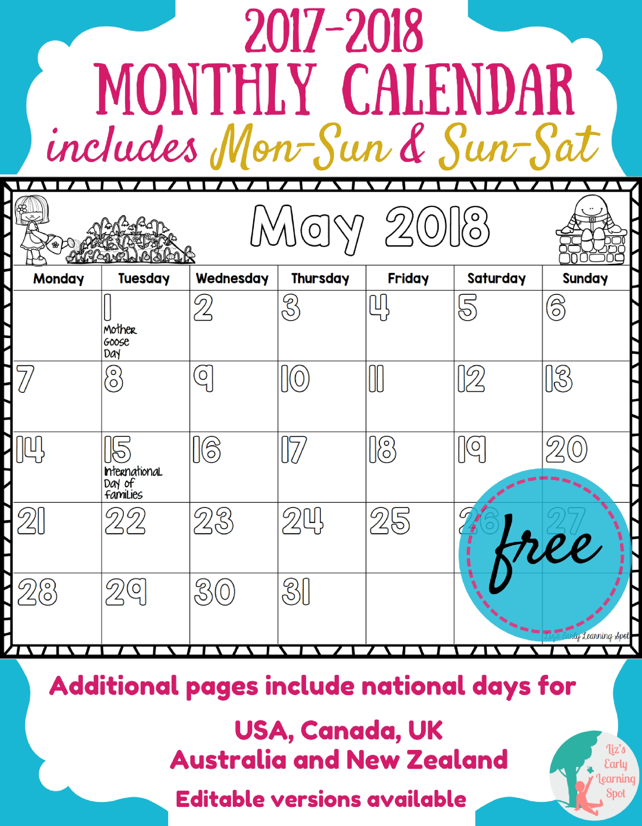 Free 2017-2018 Monthly Calendar For Kids | Liz's Early