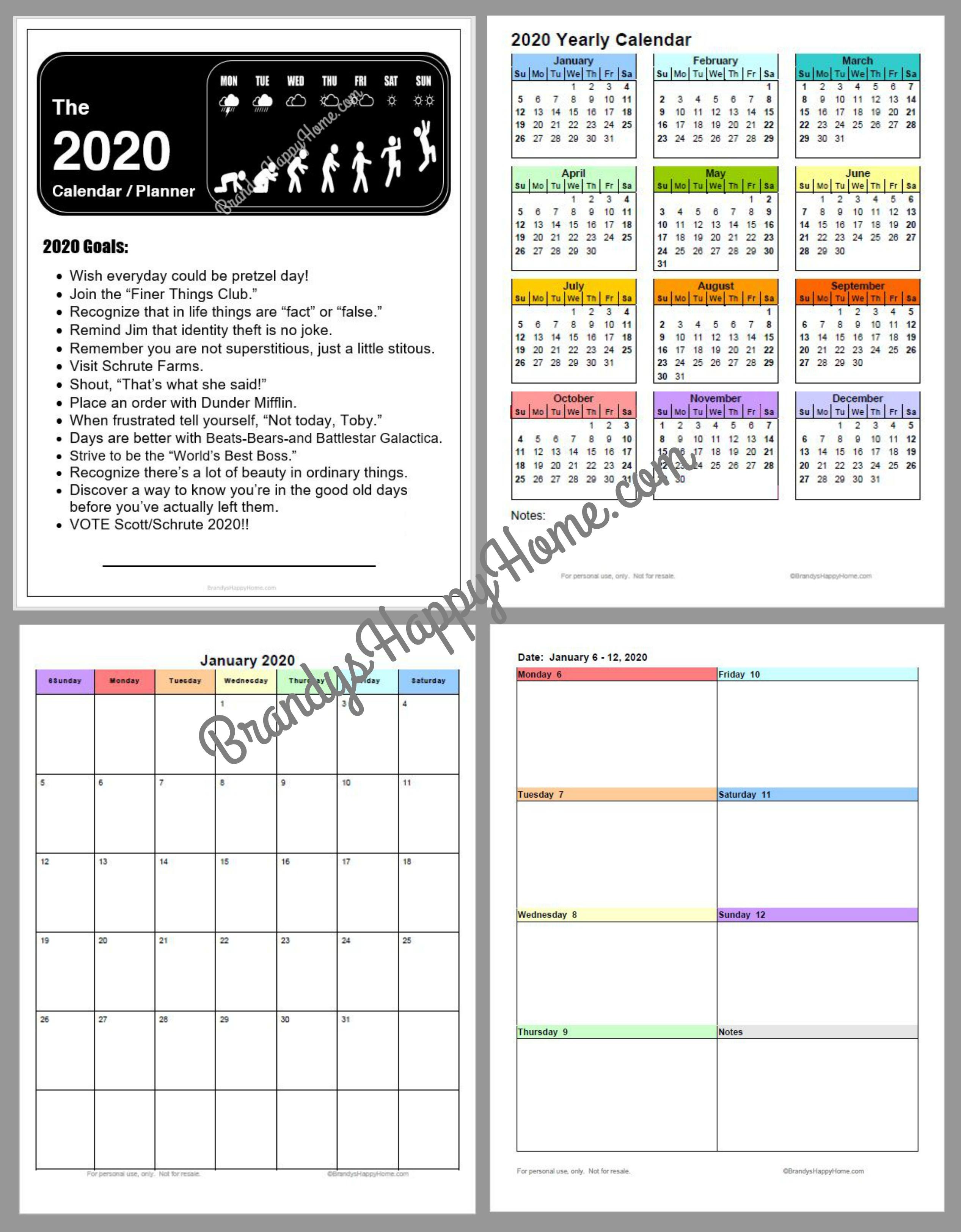 Free 2020 Diy Calendar Planner Printables