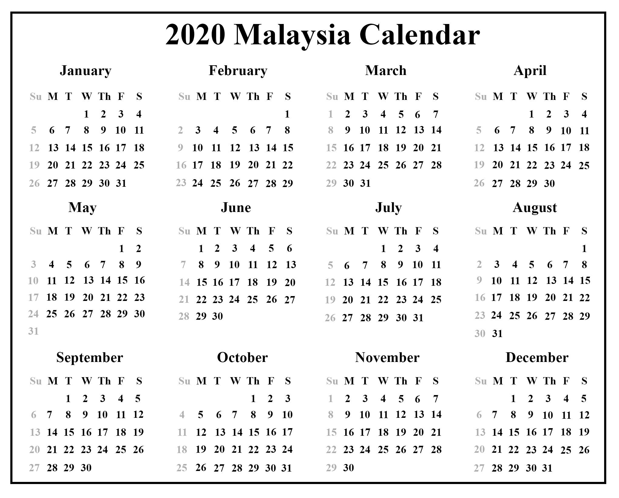Free 2020 Malaysia Calendar With Holidays {Pdf & Excel & Word}