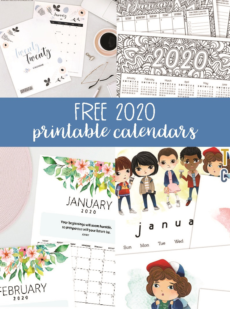 Free 2020 Printable Calendars - Crafting In The Rain