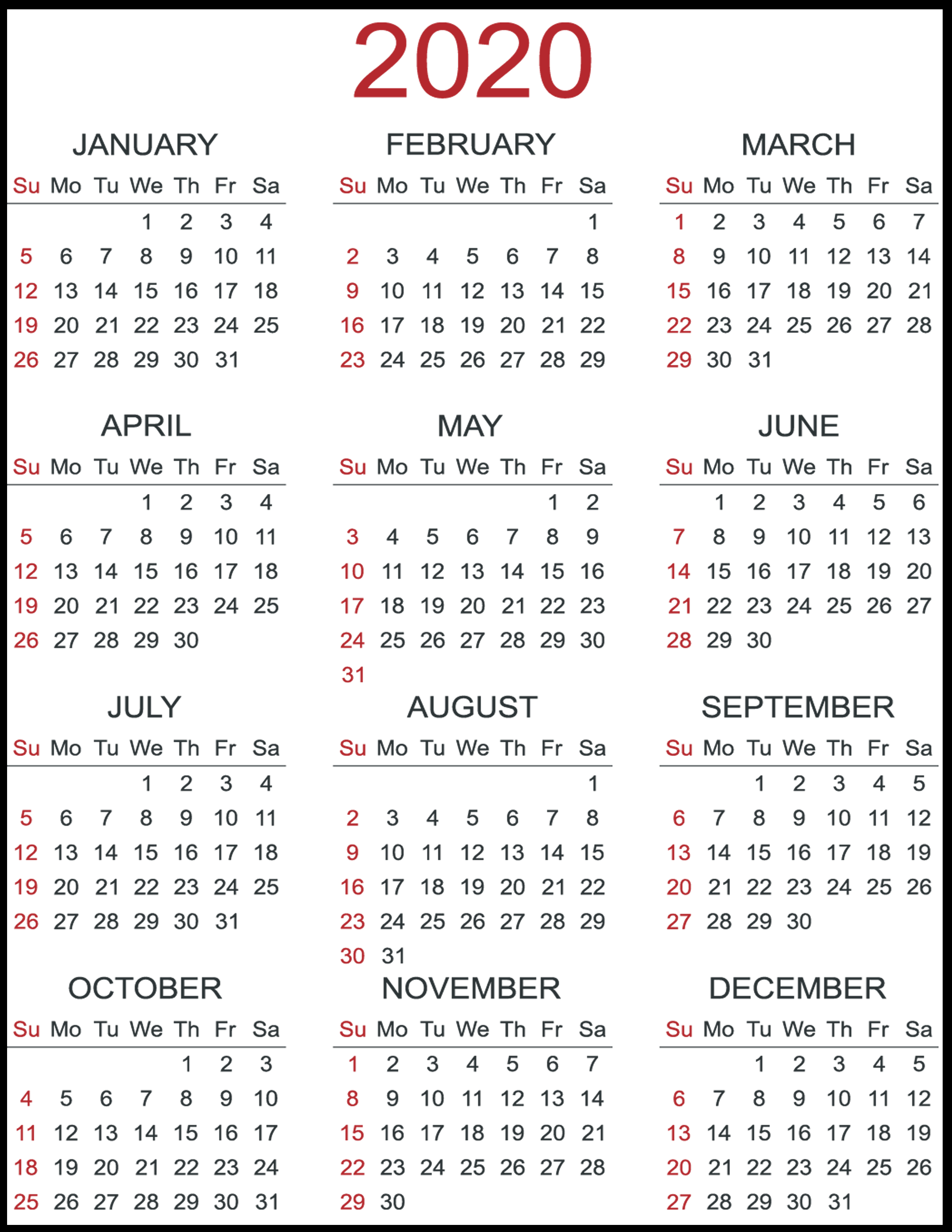 Free 2020 Yearly Printable Calendar Template   Calendar Wine