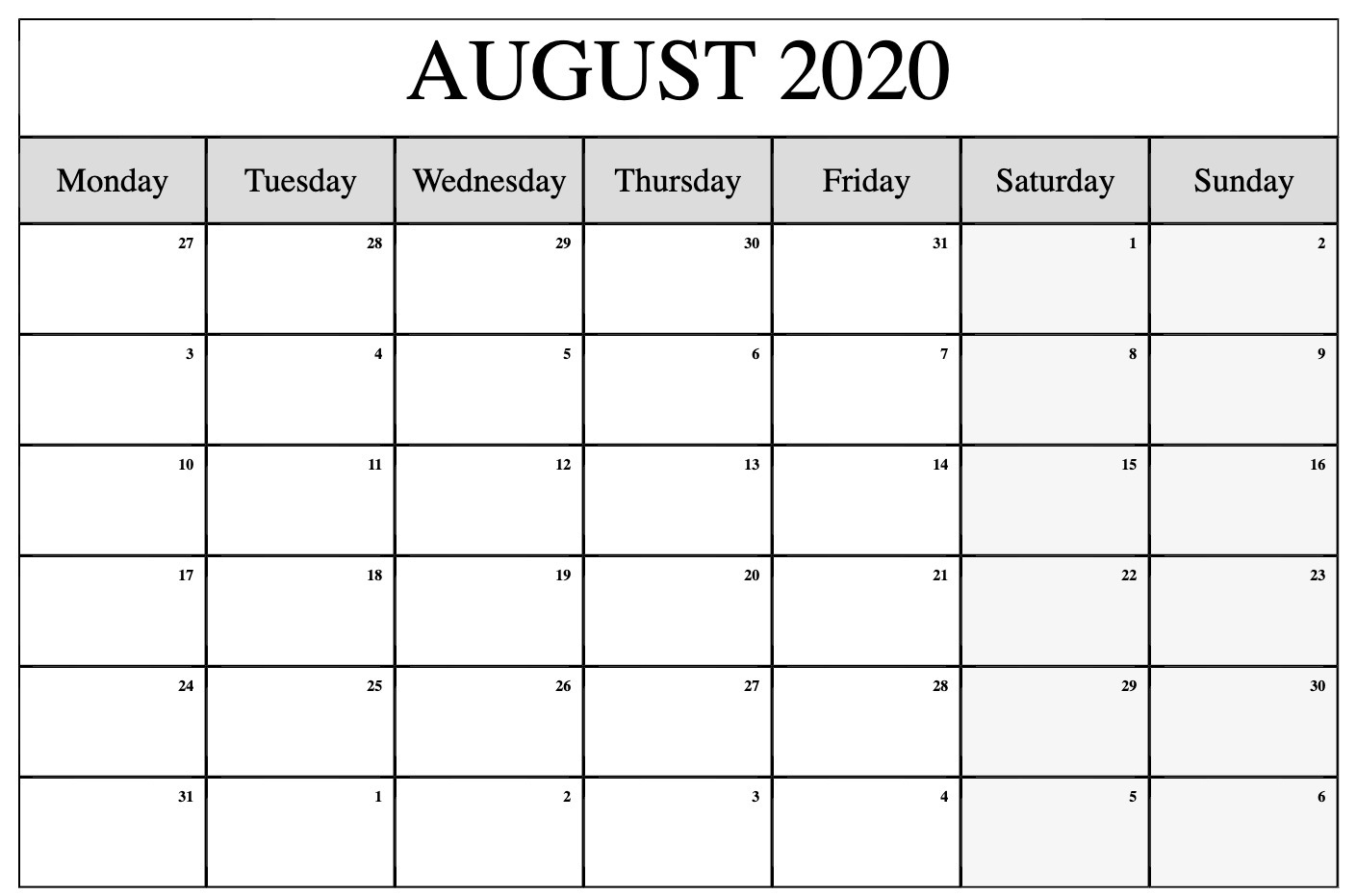 Free August 2020 Calendar Monthly Printable Templates