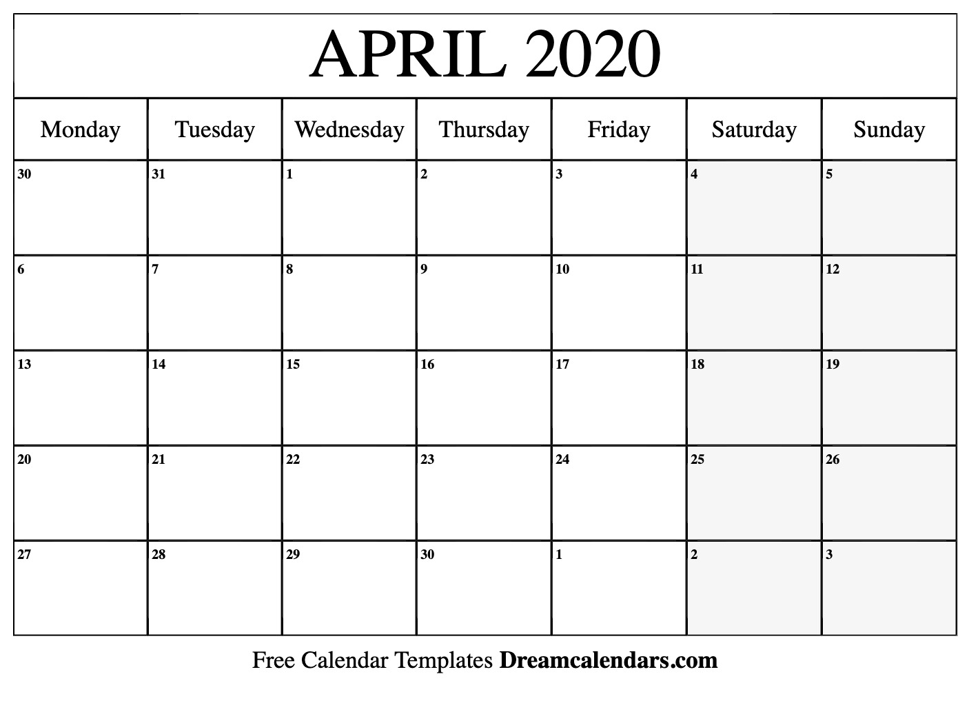 Free Blank April 2020 Printable Calendar