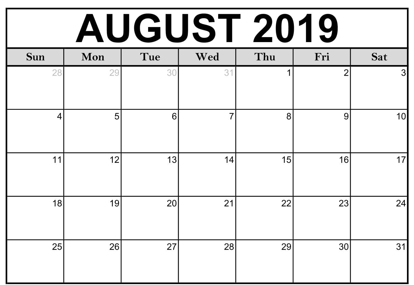 Free Blank August 2019 Calendar Printable Template