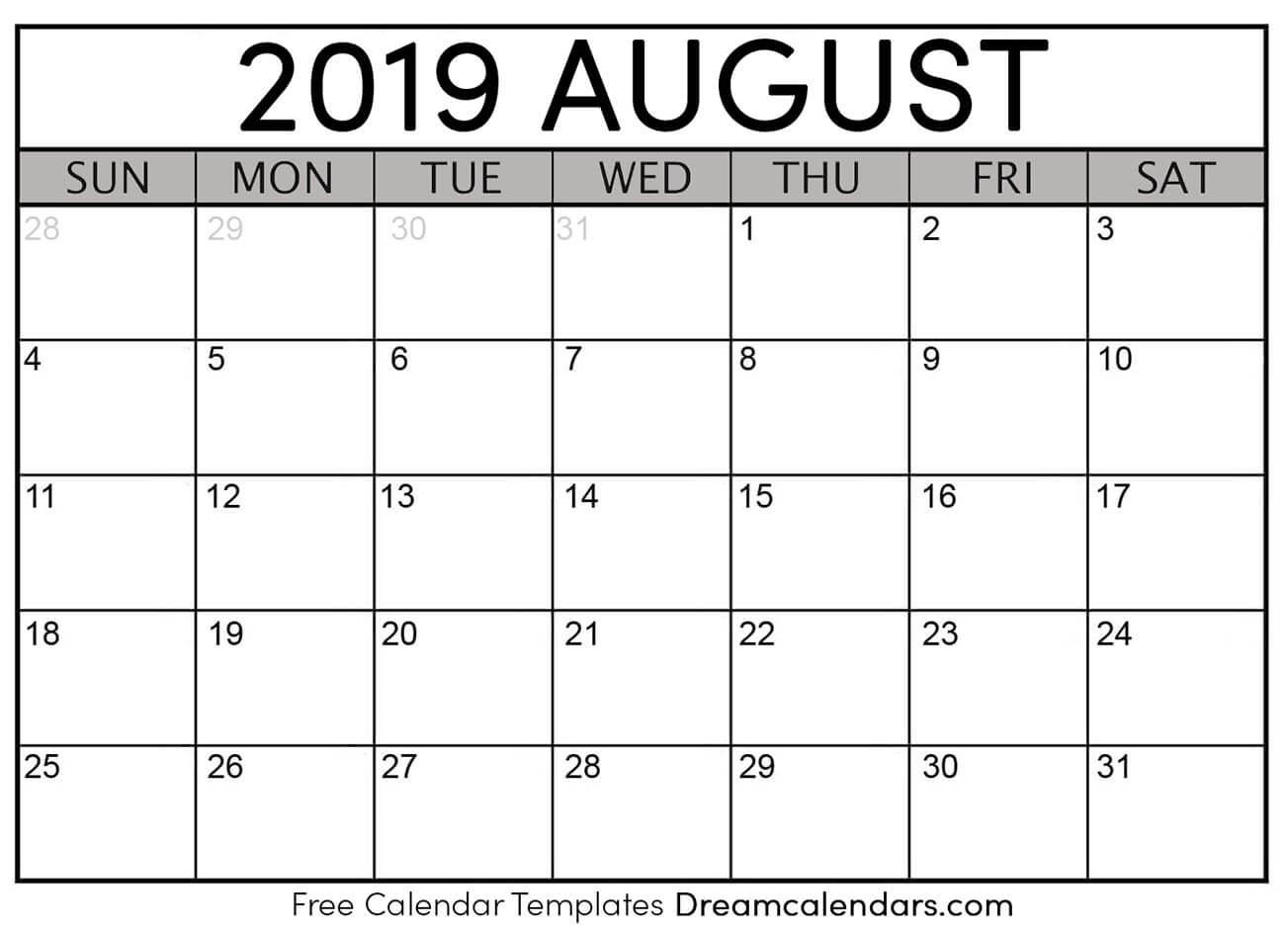 Free Blank August 2019 Printable Calendar