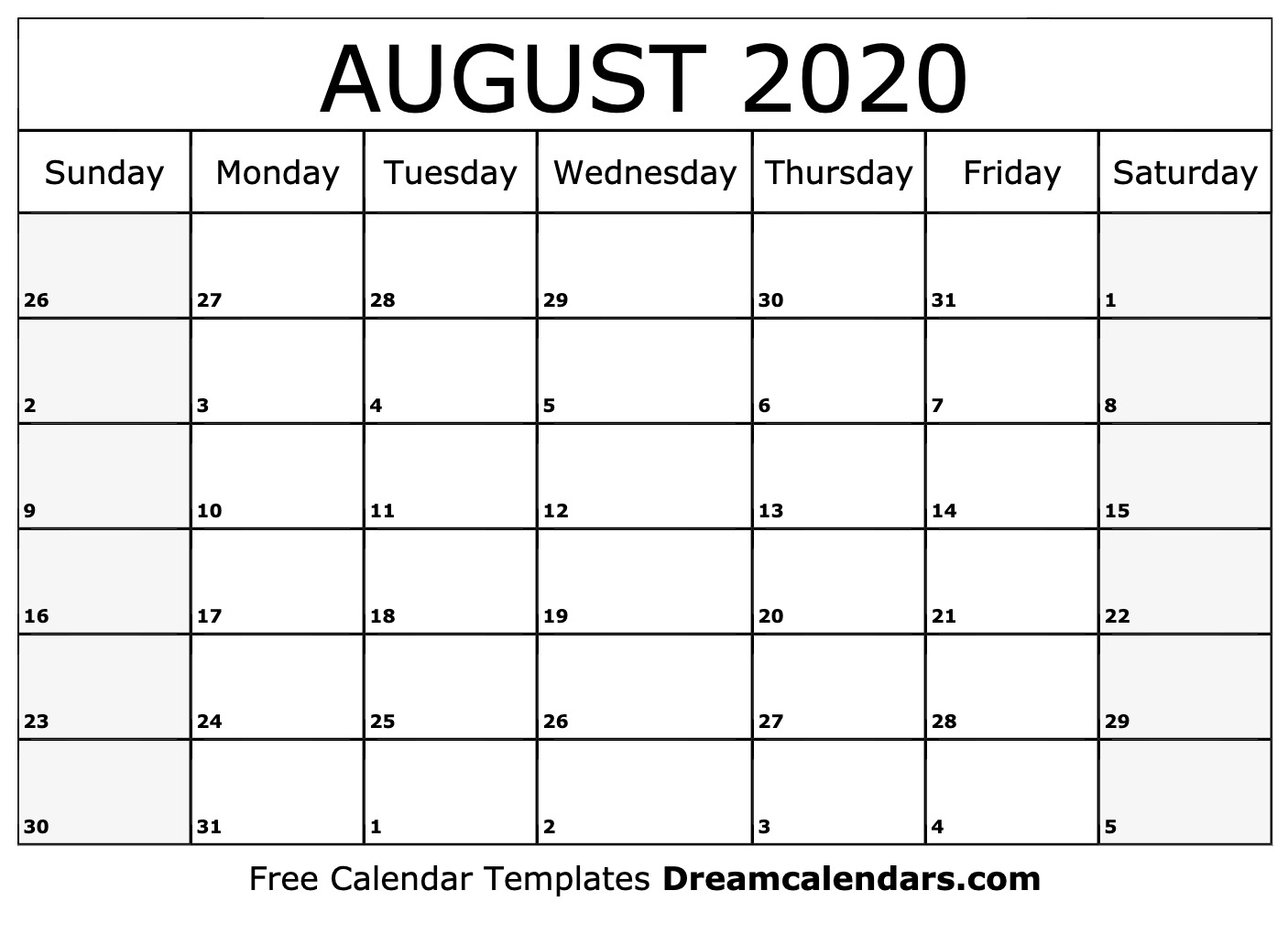 Free Blank August 2020 Printable Calendar
