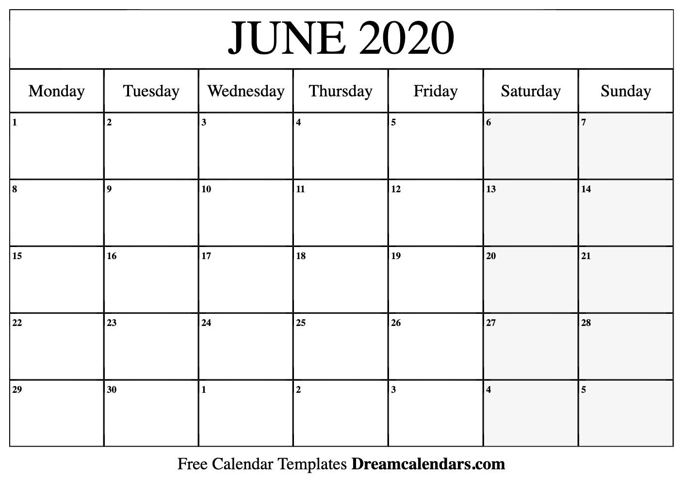Free Blank June 2020 Printable Calendar