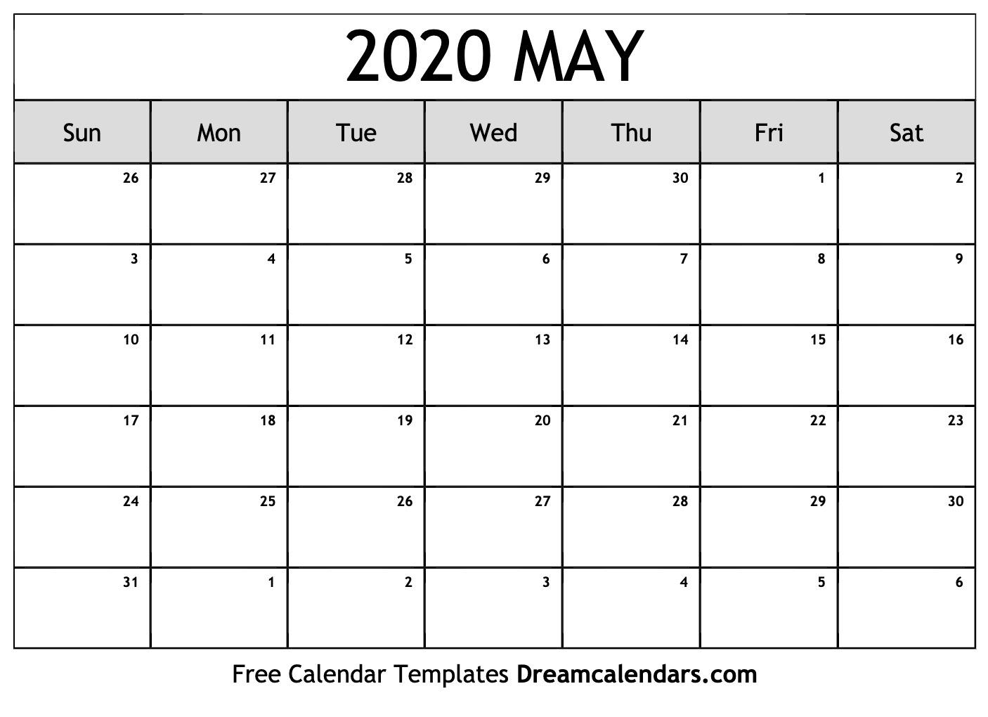 Free Blank May 2020 Printable Calendar