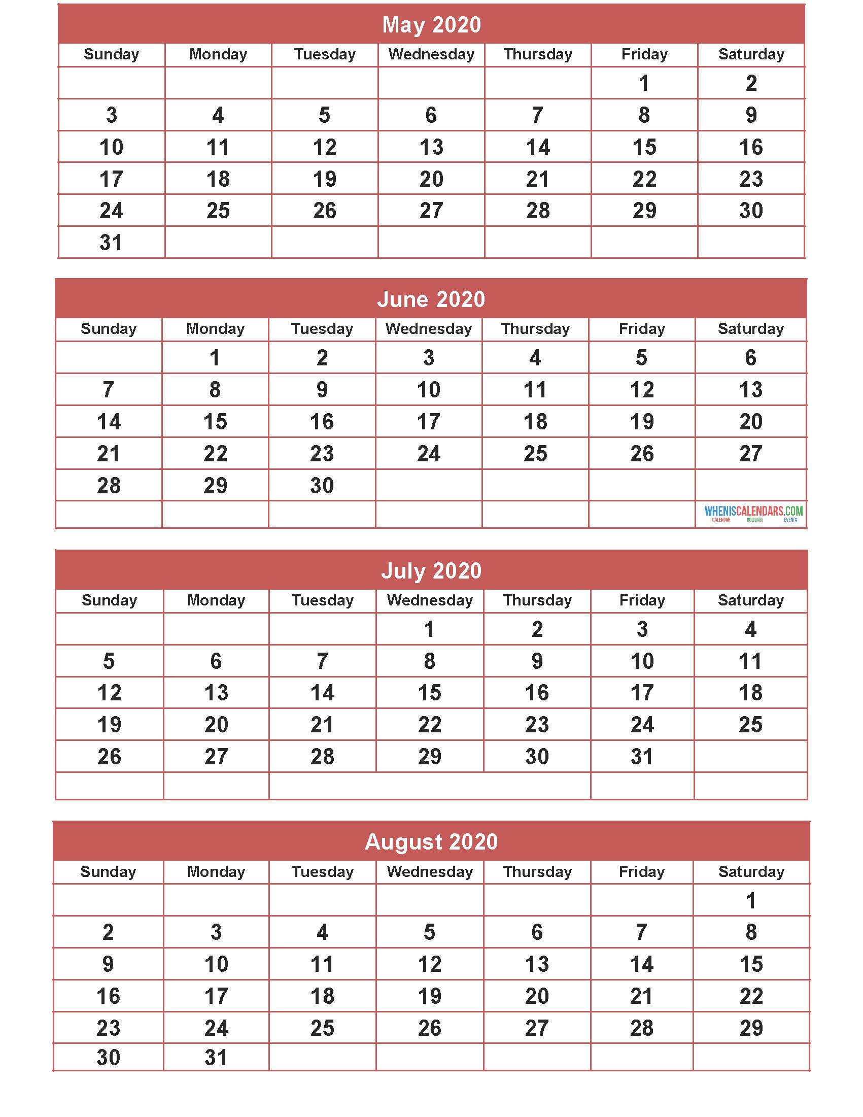 Free Calendar 2020 May June July August Printable | Free