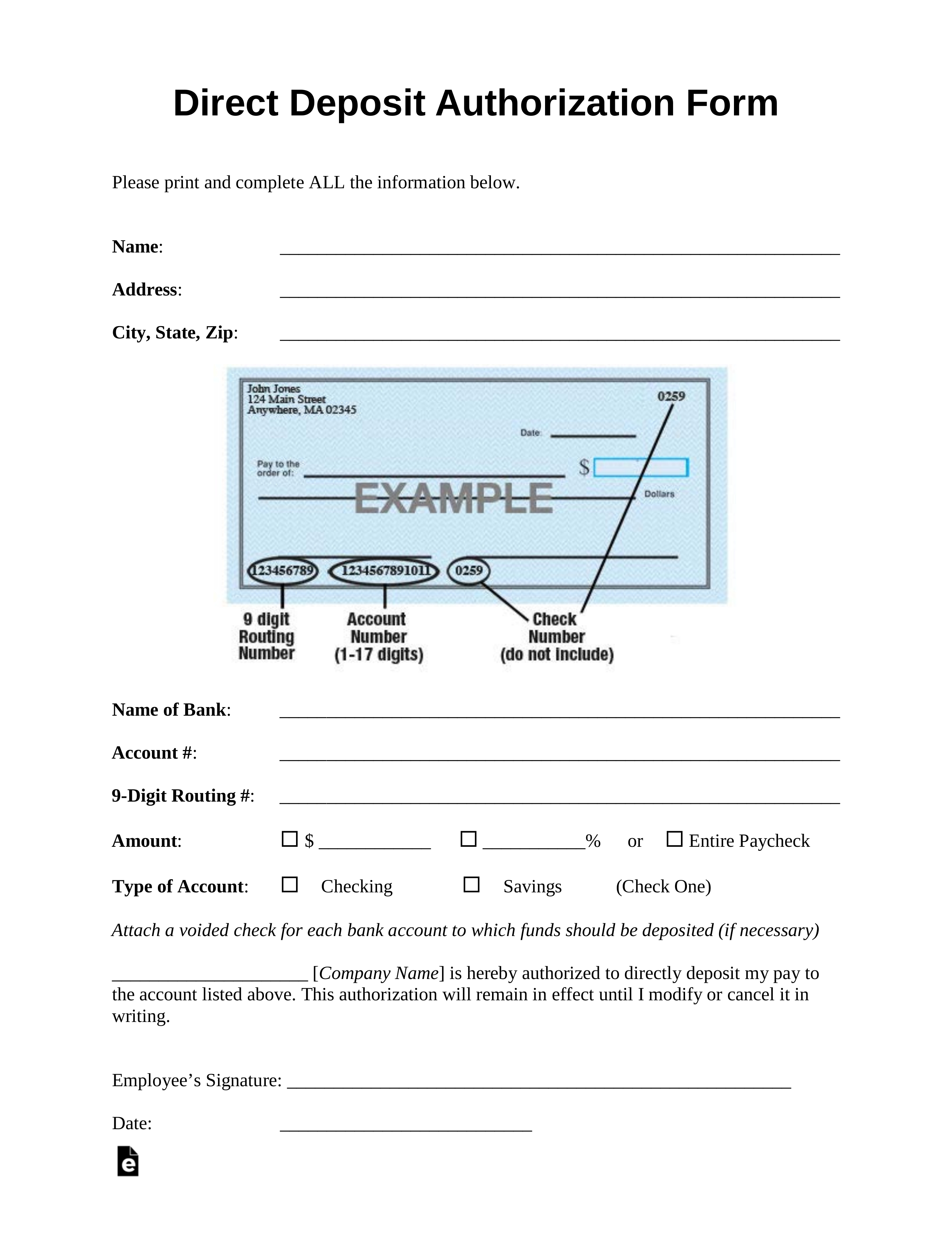 Free Direct Deposit Authorization Forms - Pdf | Word