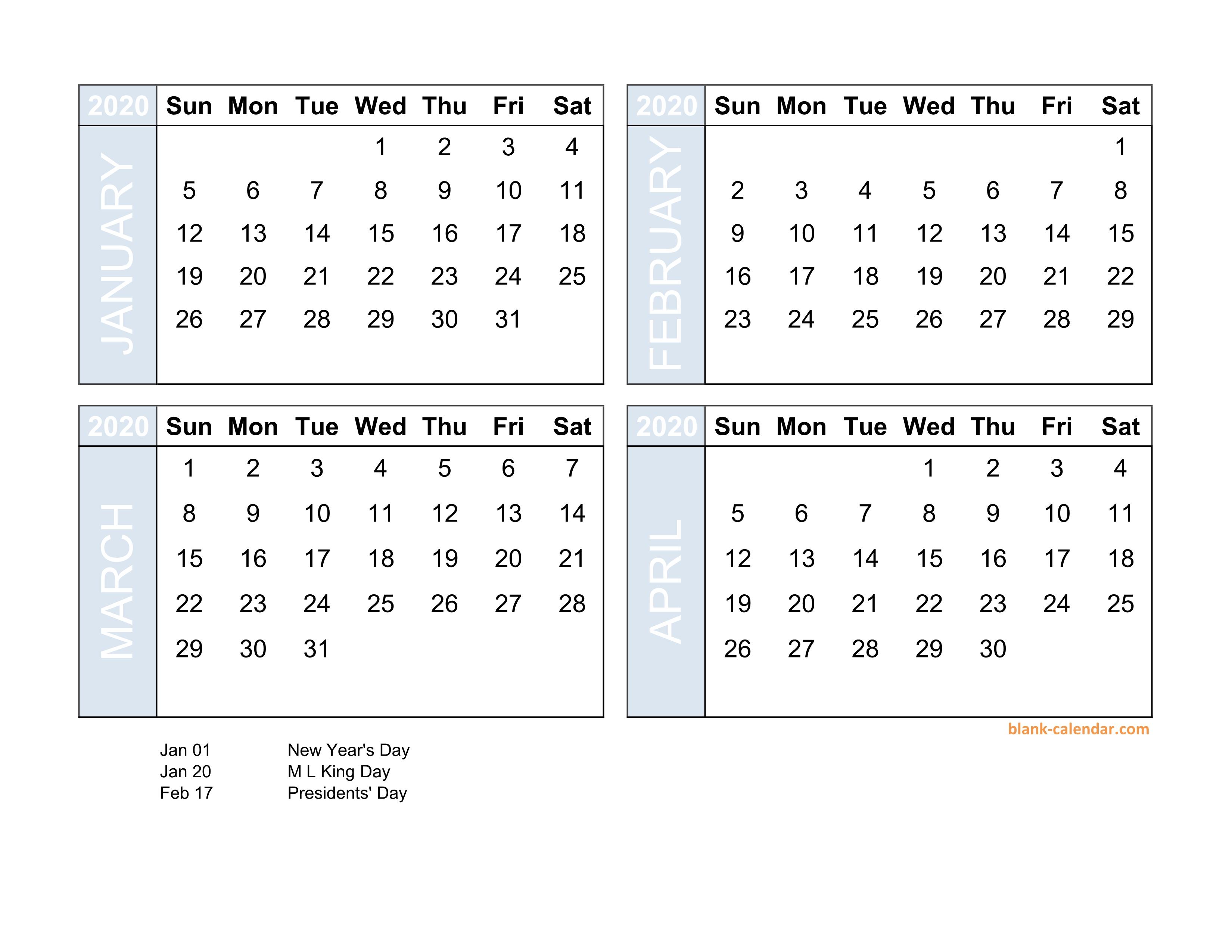 Free Download 2020 Excel Calendar Four Month In Landscape Format