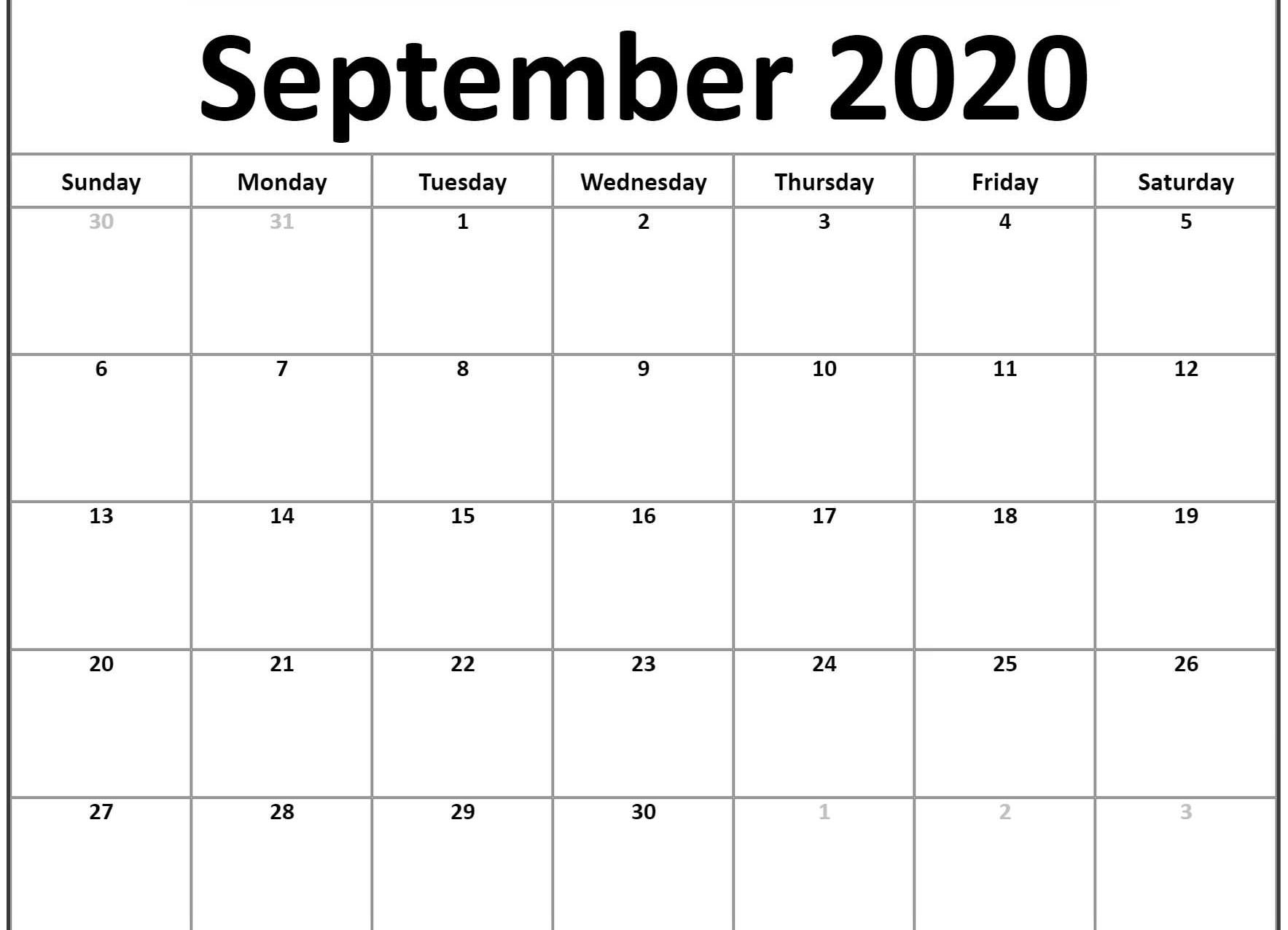 Free Download Awesome September 2020 Calendar Pdf Word Excel