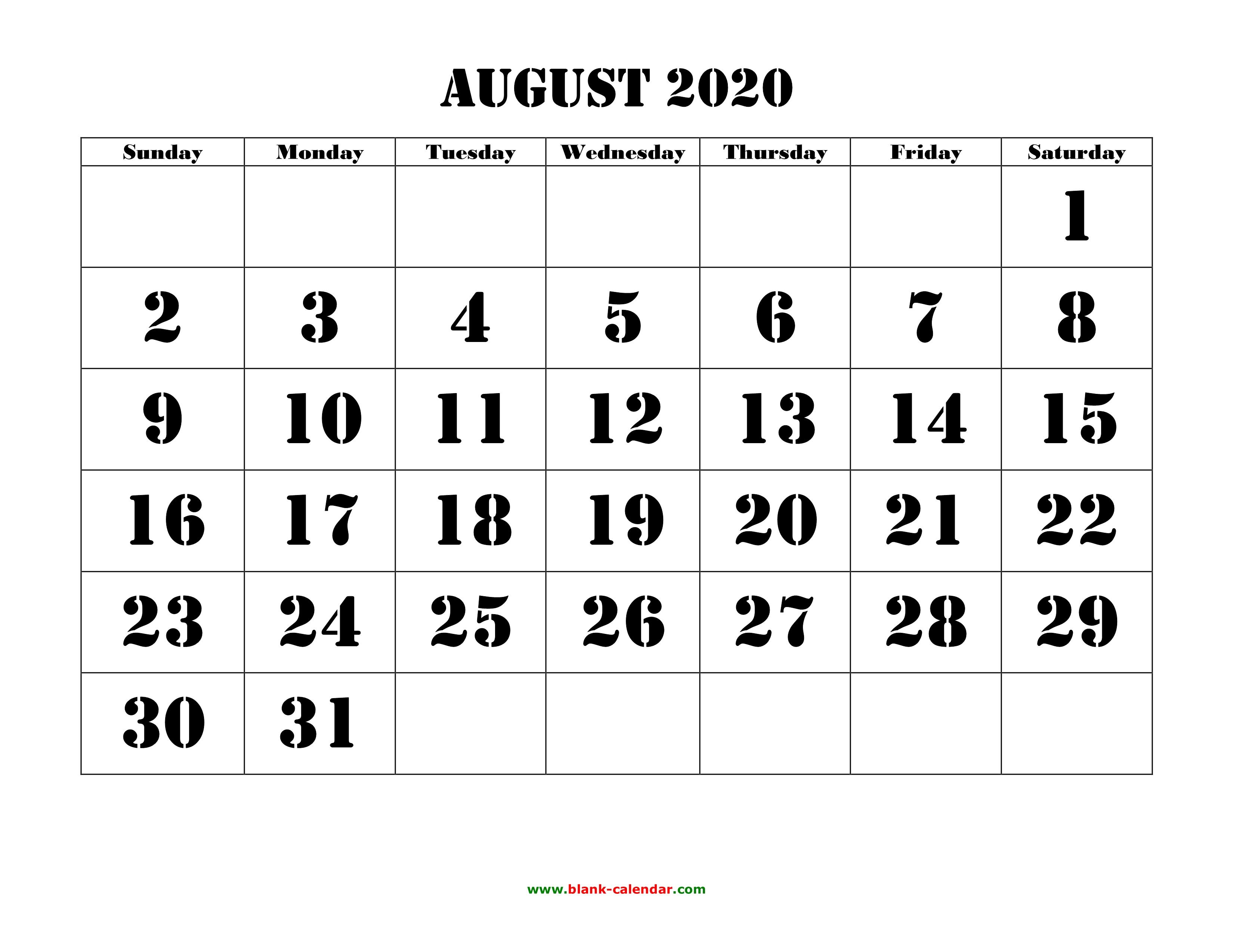 Free Download Printable August 2020 Calendar, Large Font