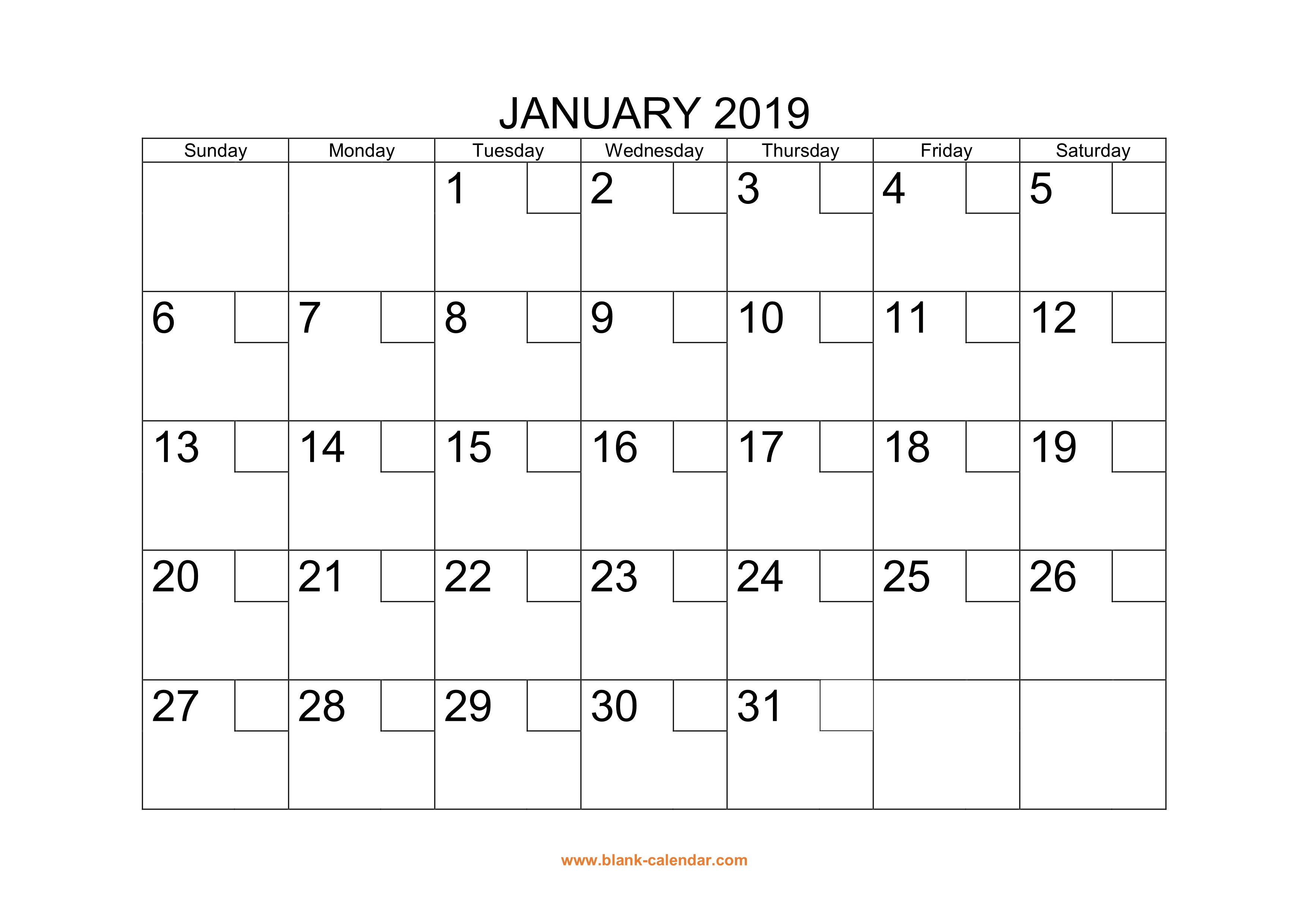Free Download Printable Calendar 2019 With Check Boxes