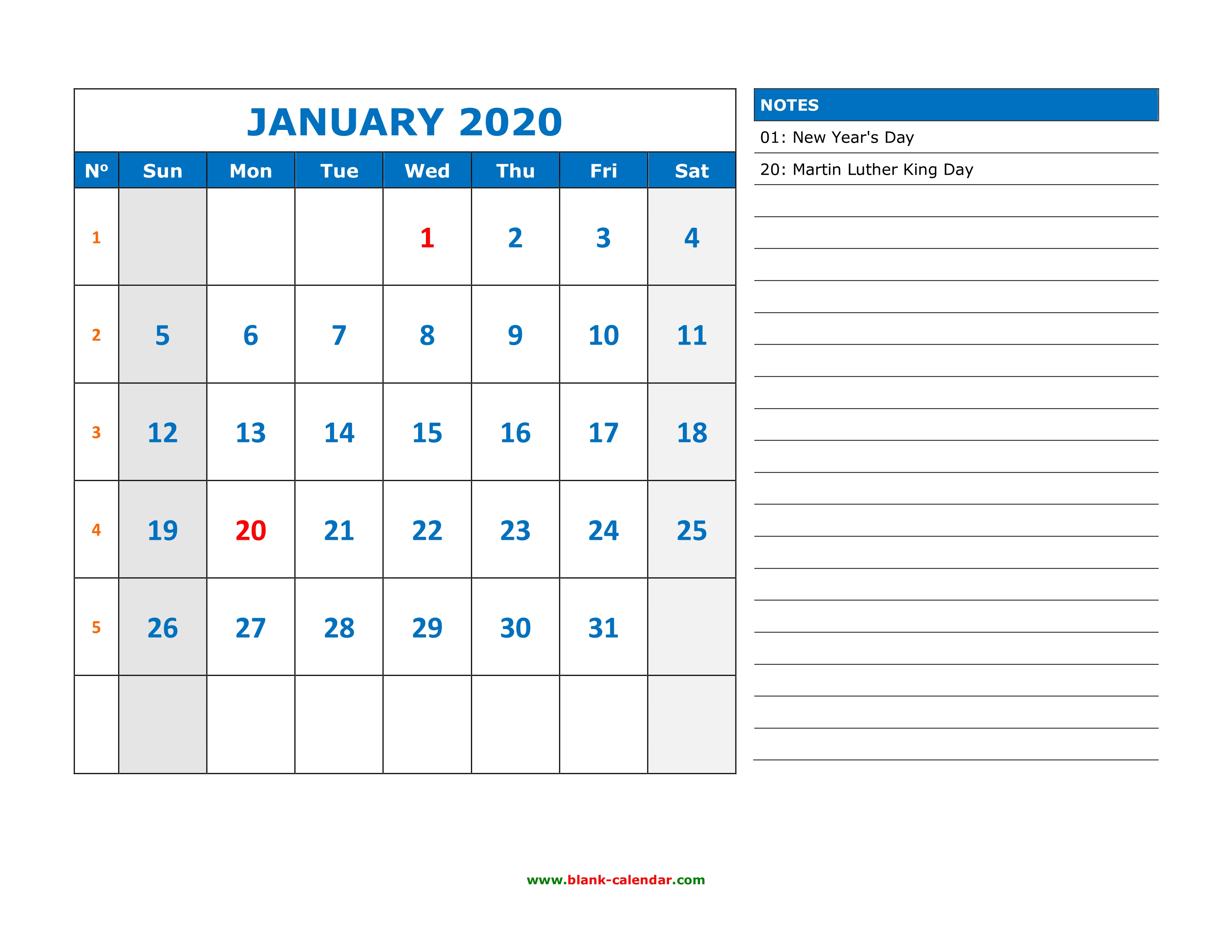 Free Download Printable Calendar 2020, Large Space For